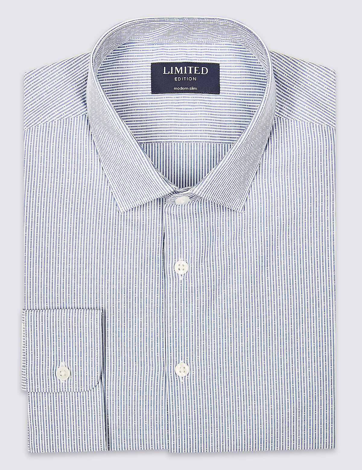 Marks & Spencer White Mix Pure Cotton Skinny Fit Shirt