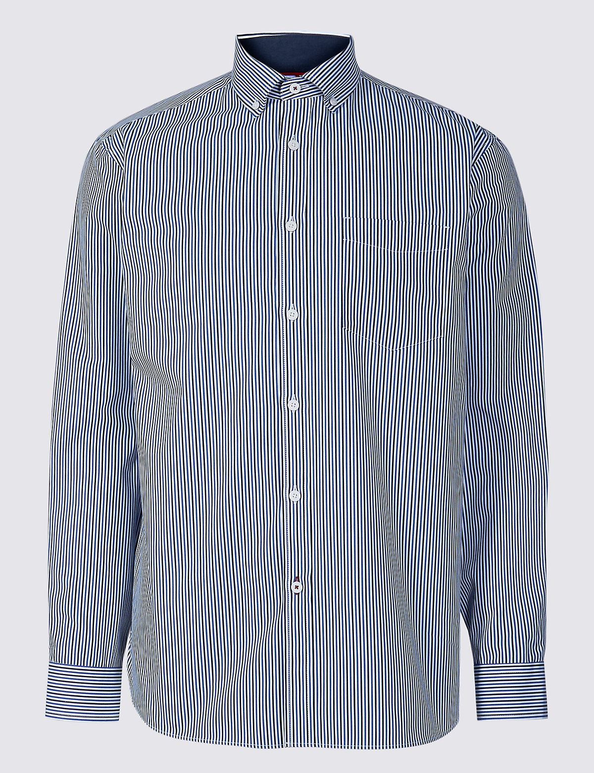Marks & Spencer Blue Pure Cotton Striped Shirt with Pocket