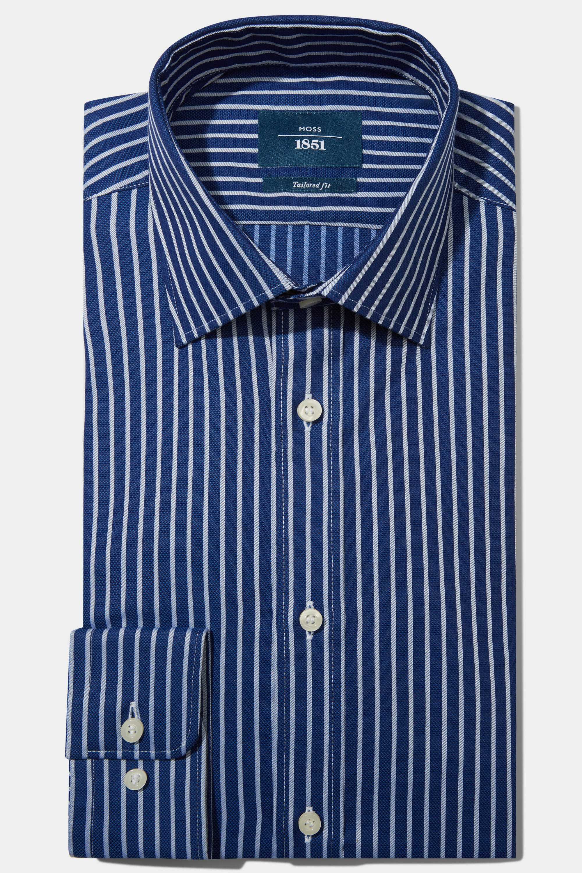 Moss Bros Moss 1851 Tailored Fit Navy Single Cuff Textured Stripe Shirt