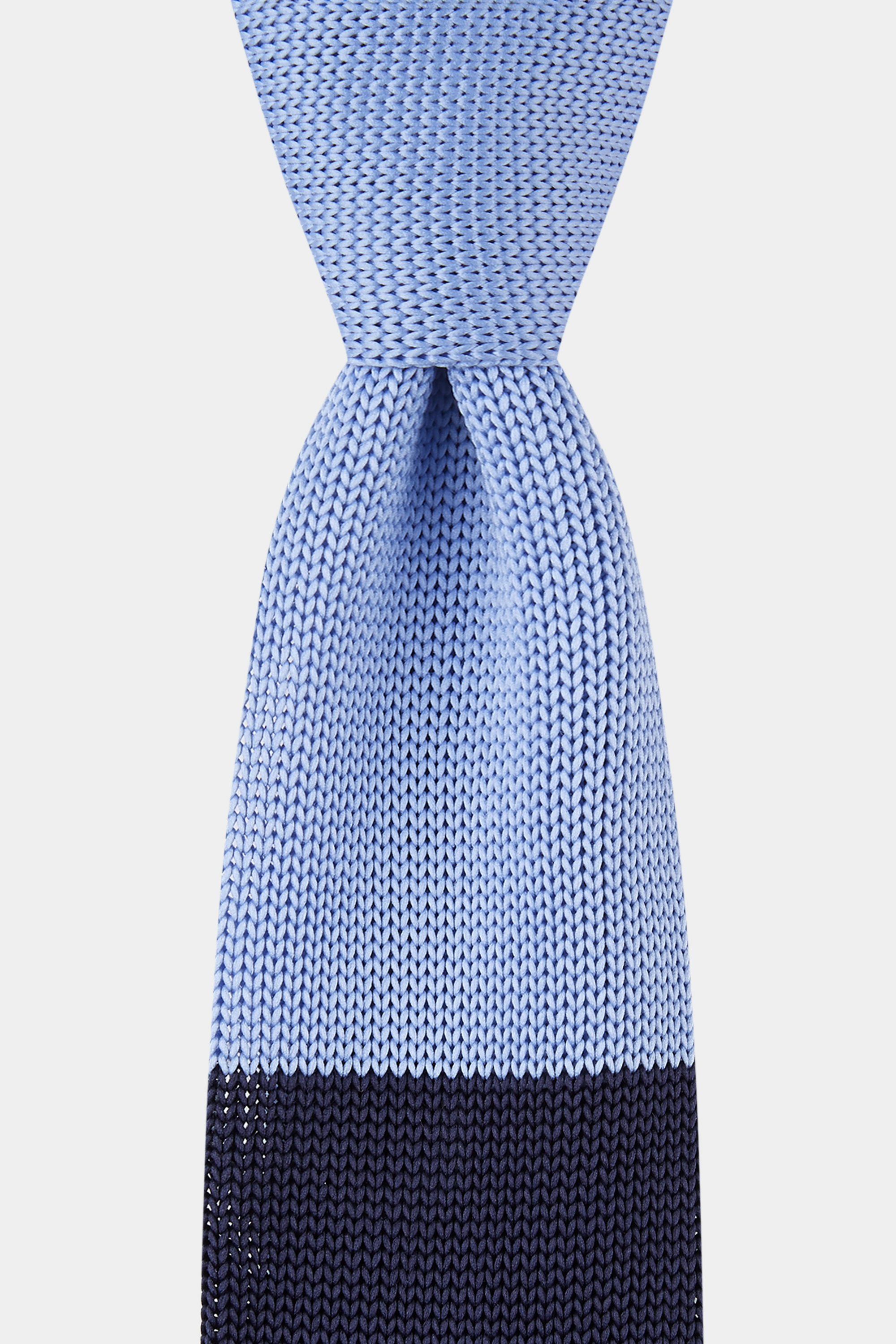 Moss Bros Moss London Cornflower Blue & Navy Block Knitted Tie