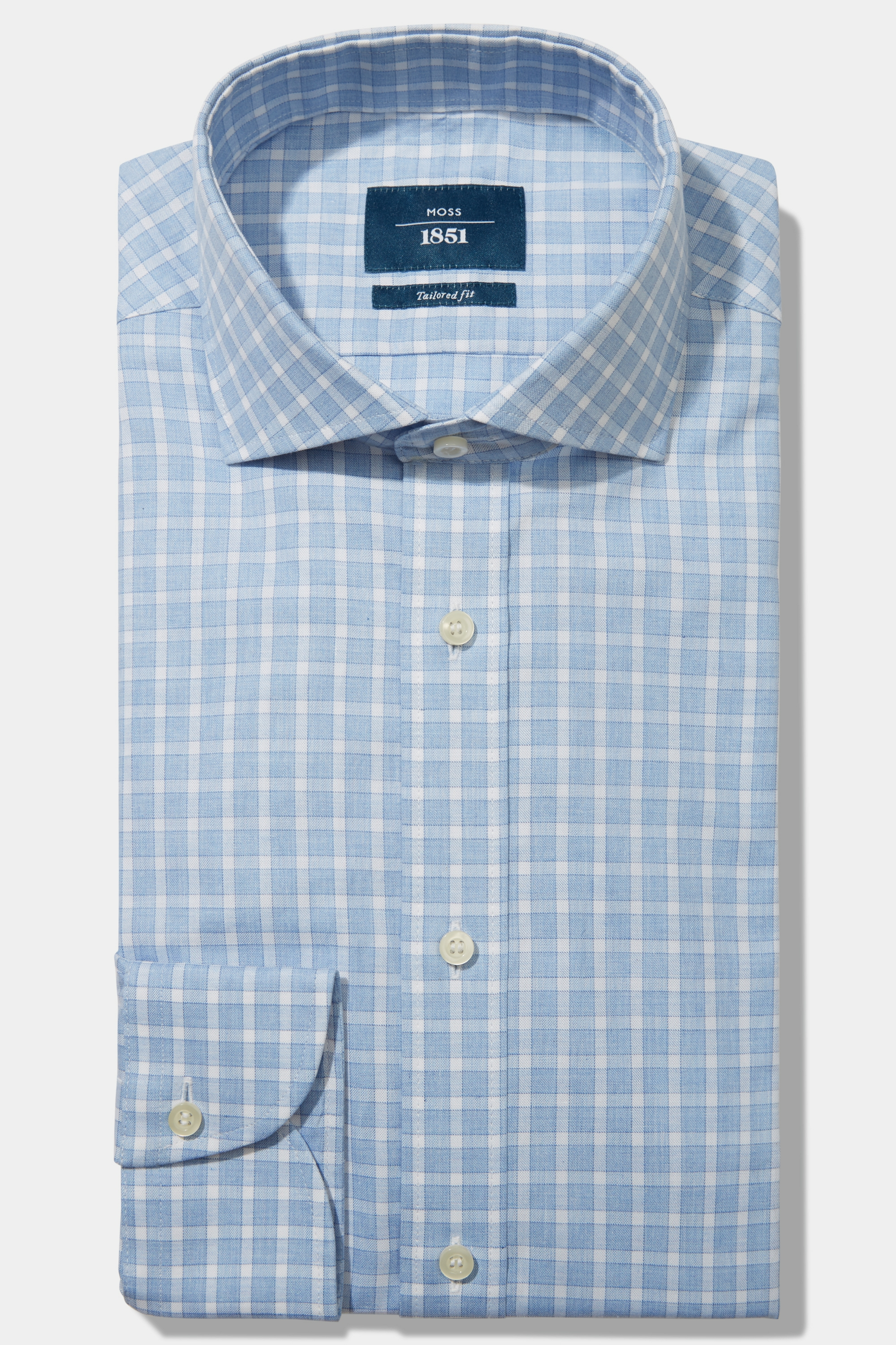 Moss Bros Moss 1851 Tailored Fit Sky Single Cuff Dobby Check Shirt