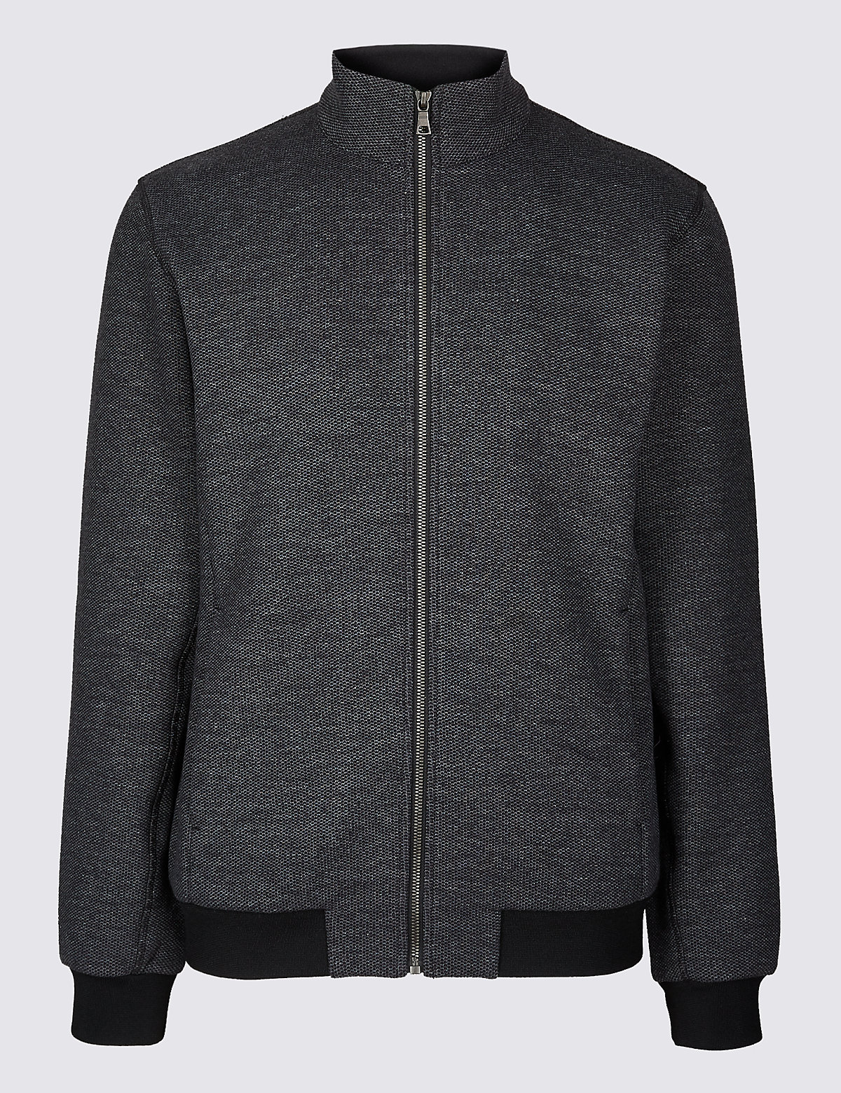 Marks & Spencer Charcoal Mix Cotton Rich Funnel Neck Zip Through