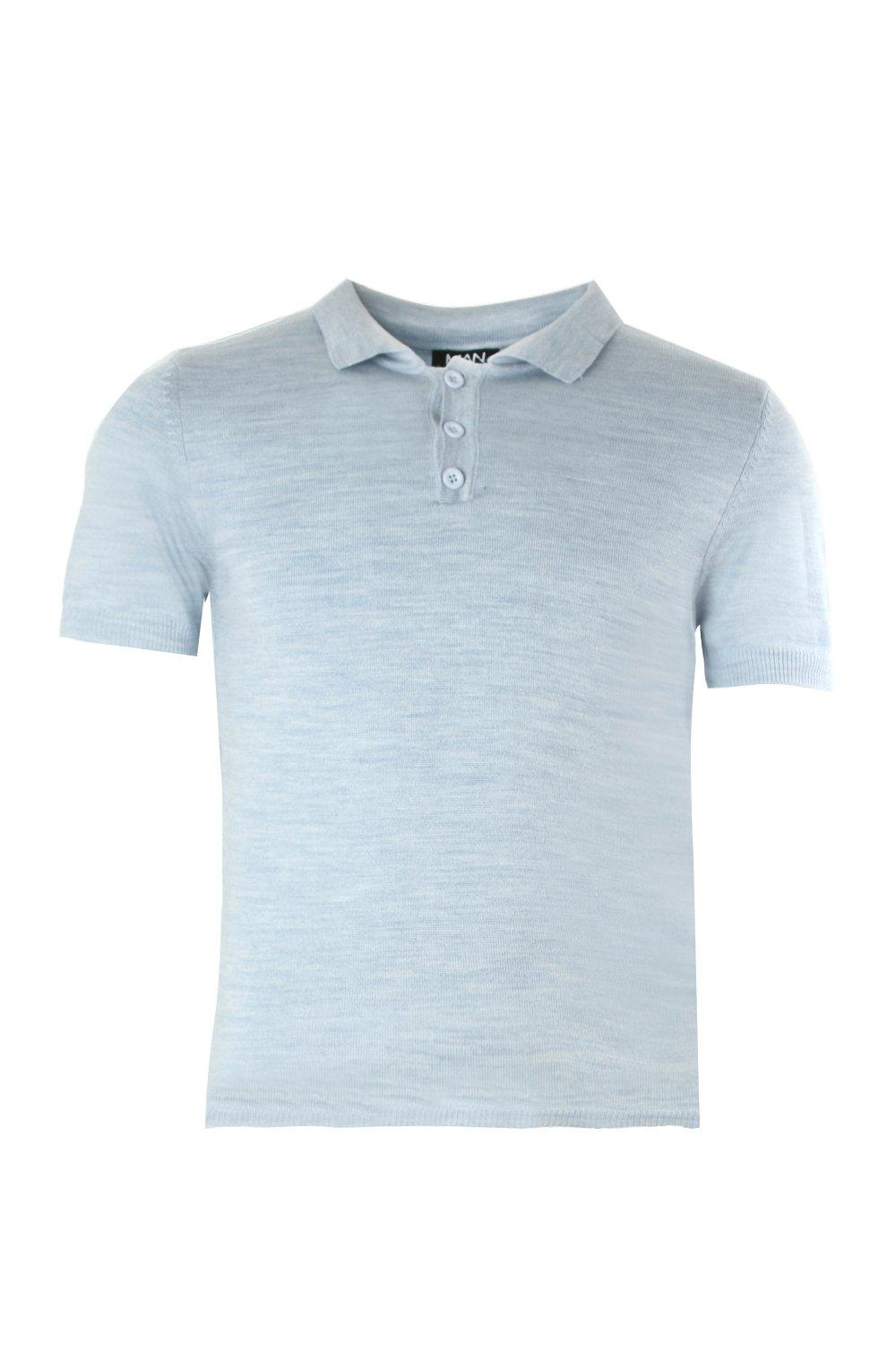 boohooMAN blue Soft Touch Knitted Polo