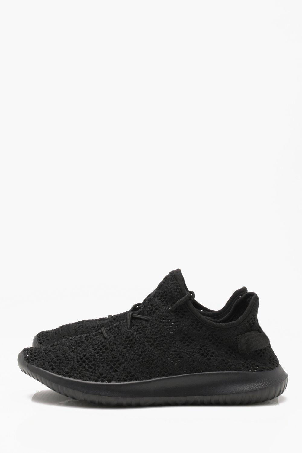 boohooMAN black Honeycomb Knitted Trainer