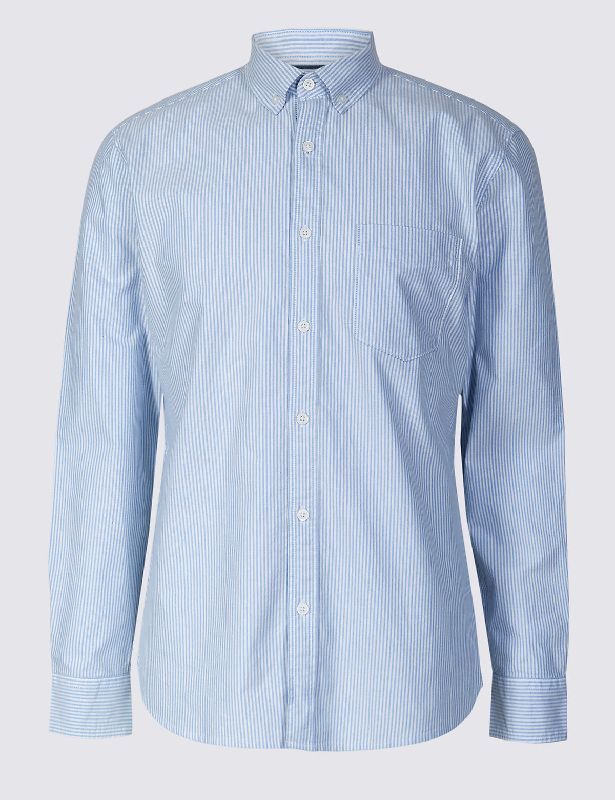 Marks & Spencer Blue Pure Cotton Slim Fit Shirt with Pocket