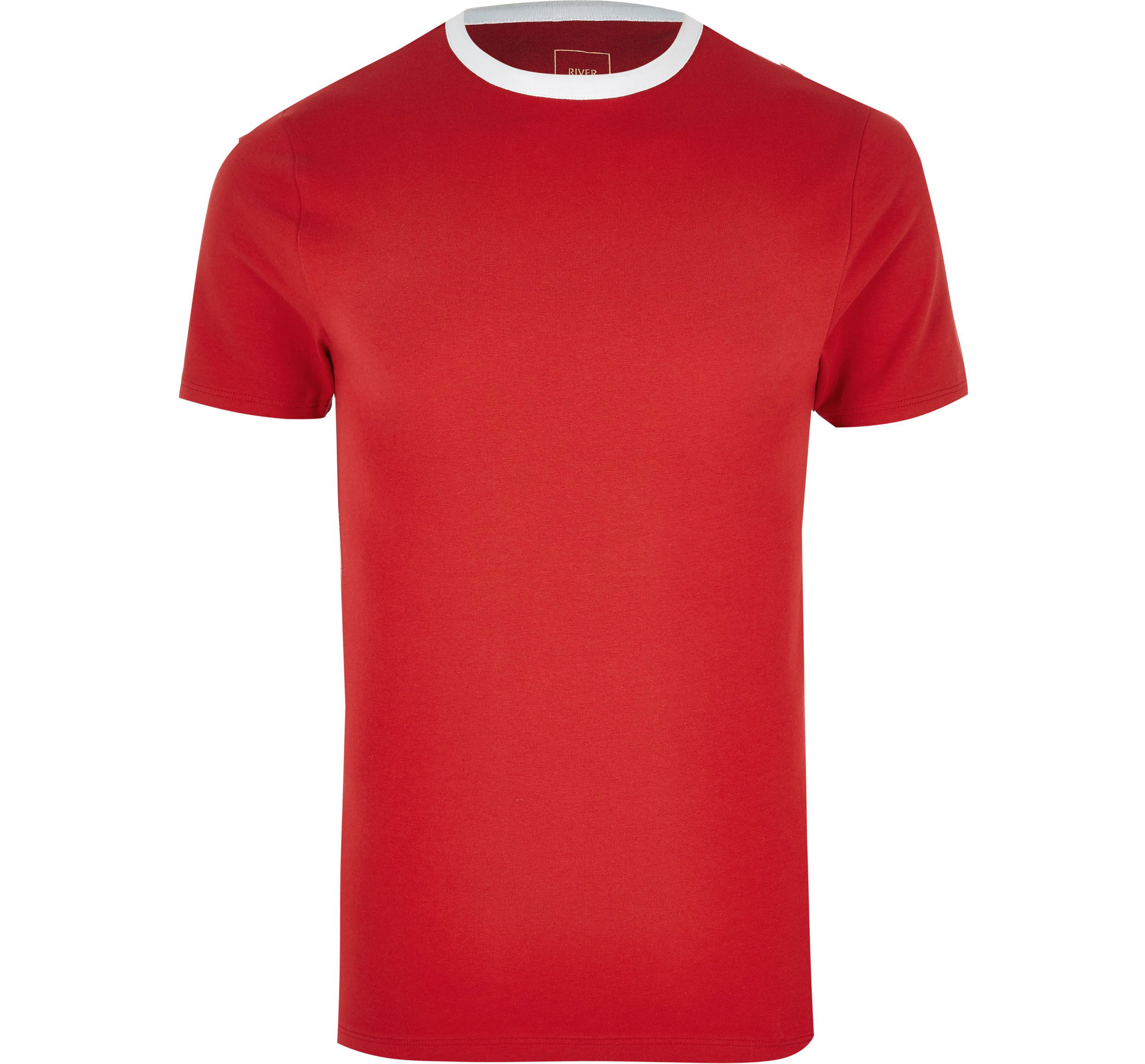 River Island Mens Red ringer muscle fit T-shirt