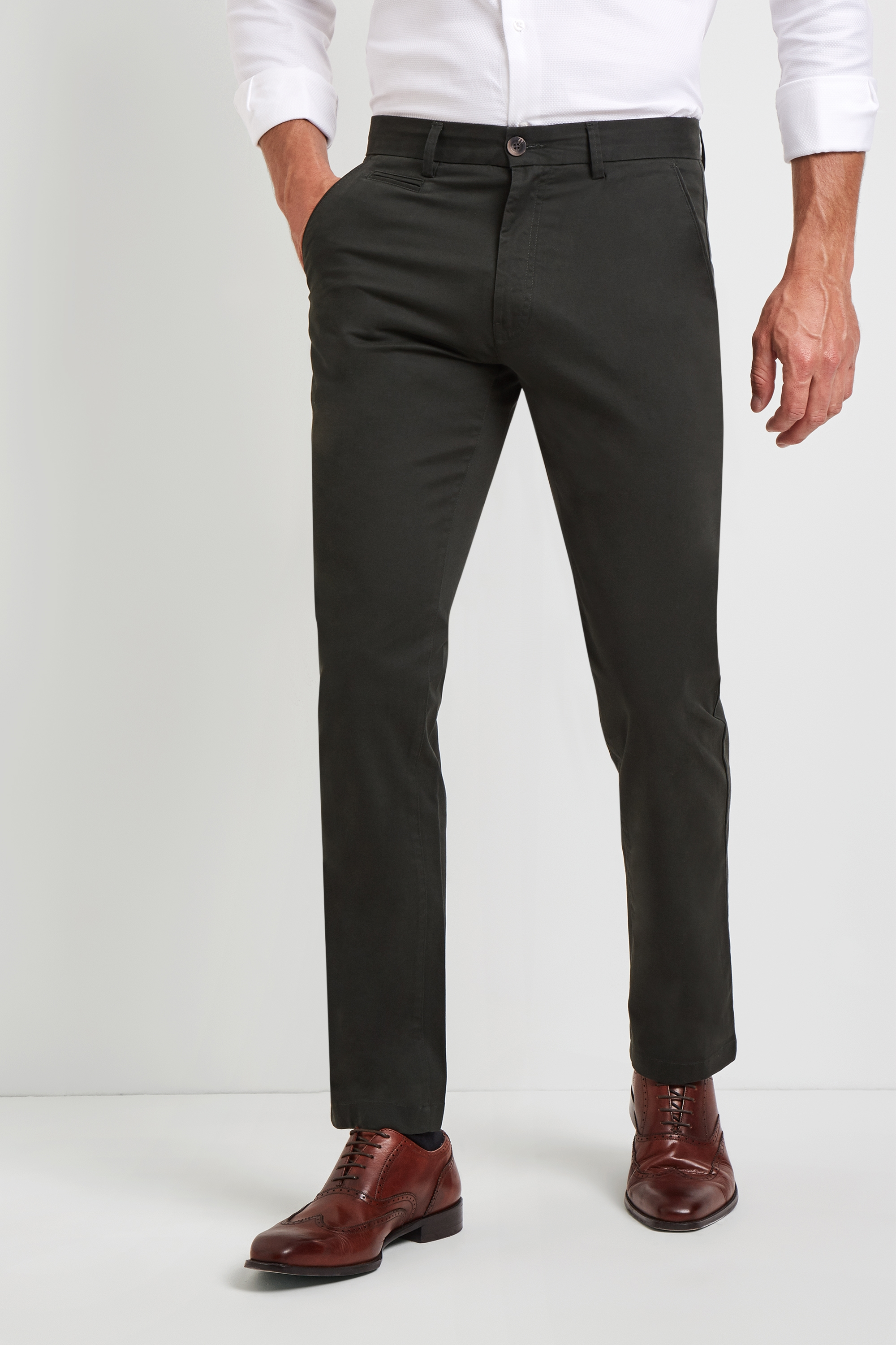 Moss Bros Moss 1851 Tailored Fit Forest Green Stretch Chinos