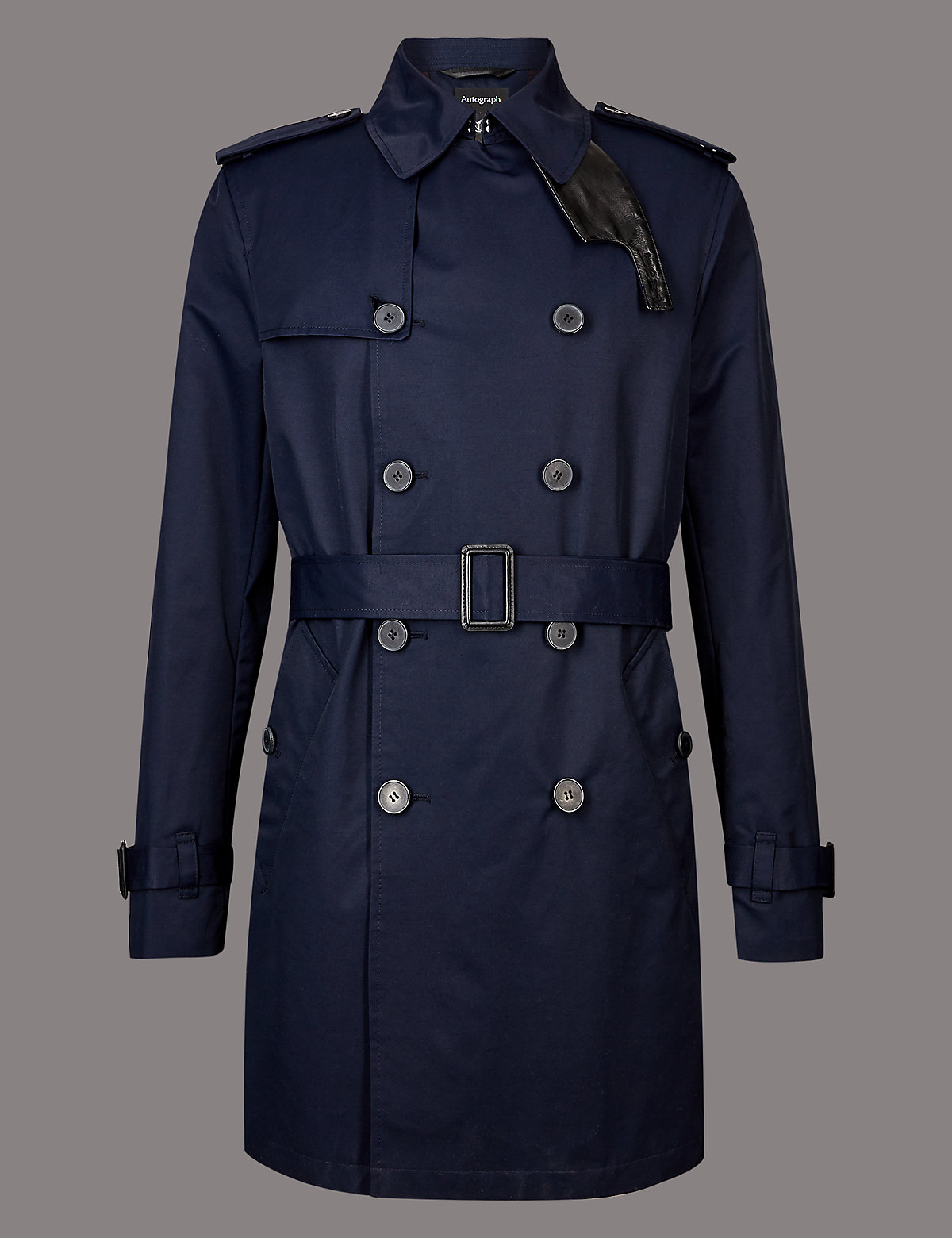 Marks & Spencer Dark Navy Cotton Rich Trench Coat with Stormwear™