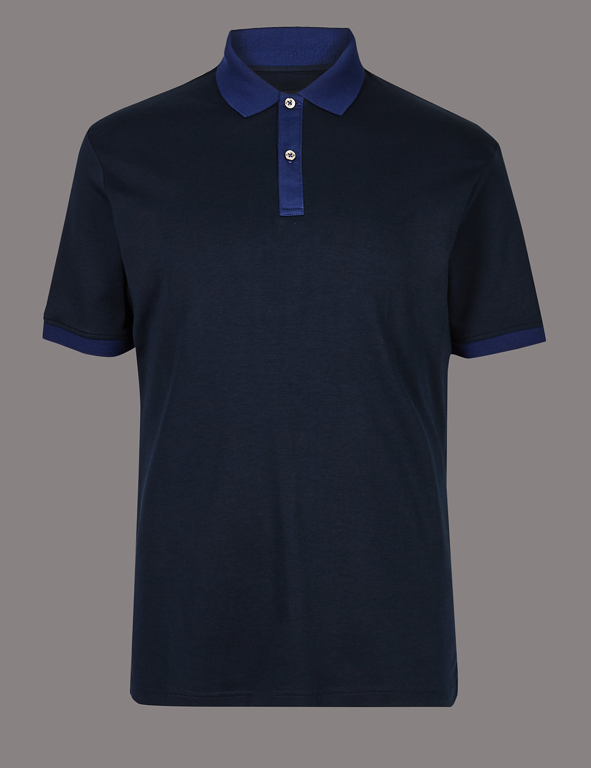 Marks & Spencer Navy Pure Cotton Contrast Collar Polo Shirt
