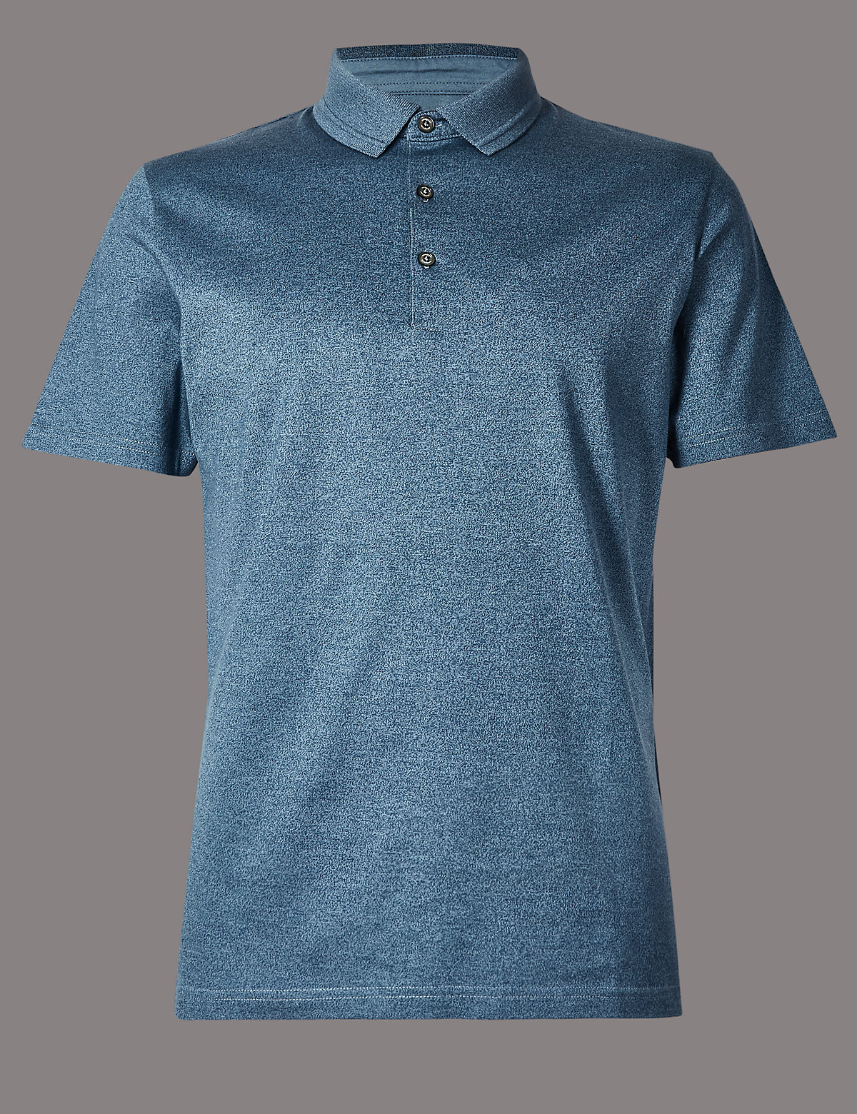 Marks & Spencer Blue Mix Pure Cotton Textured Polo Shirt