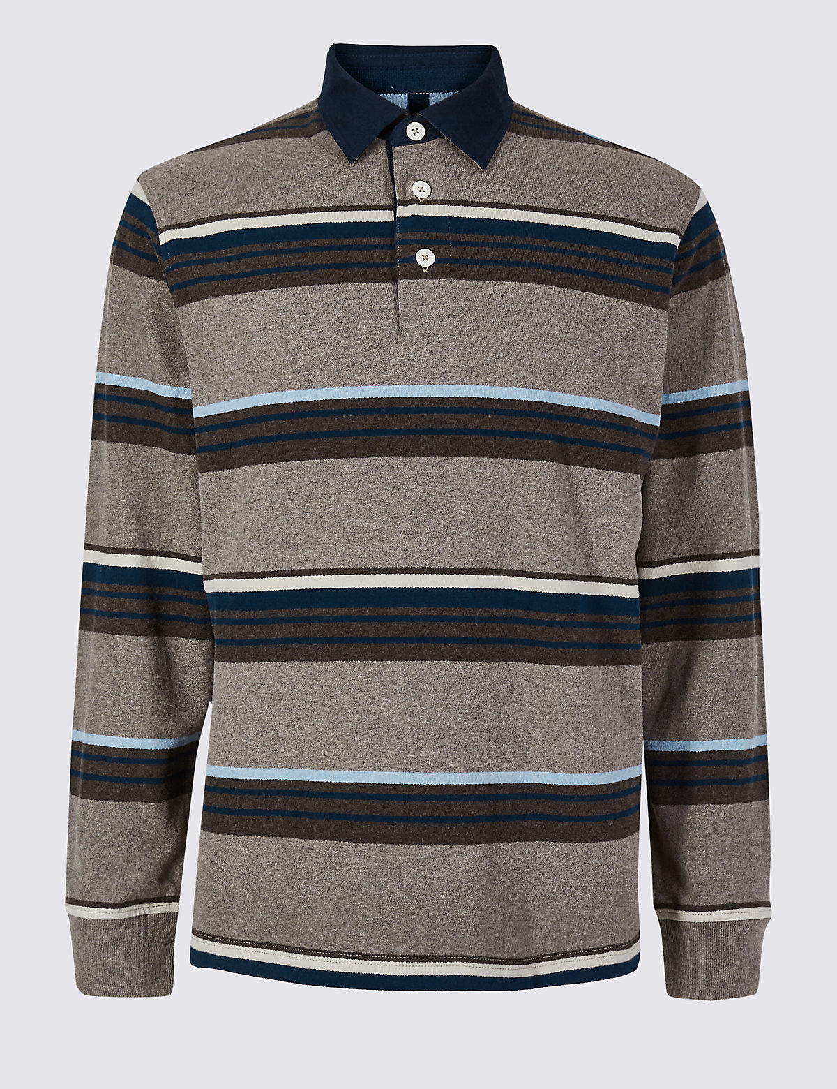 Marks & Spencer Natural Mix Pure Cotton Striped Rugby Top