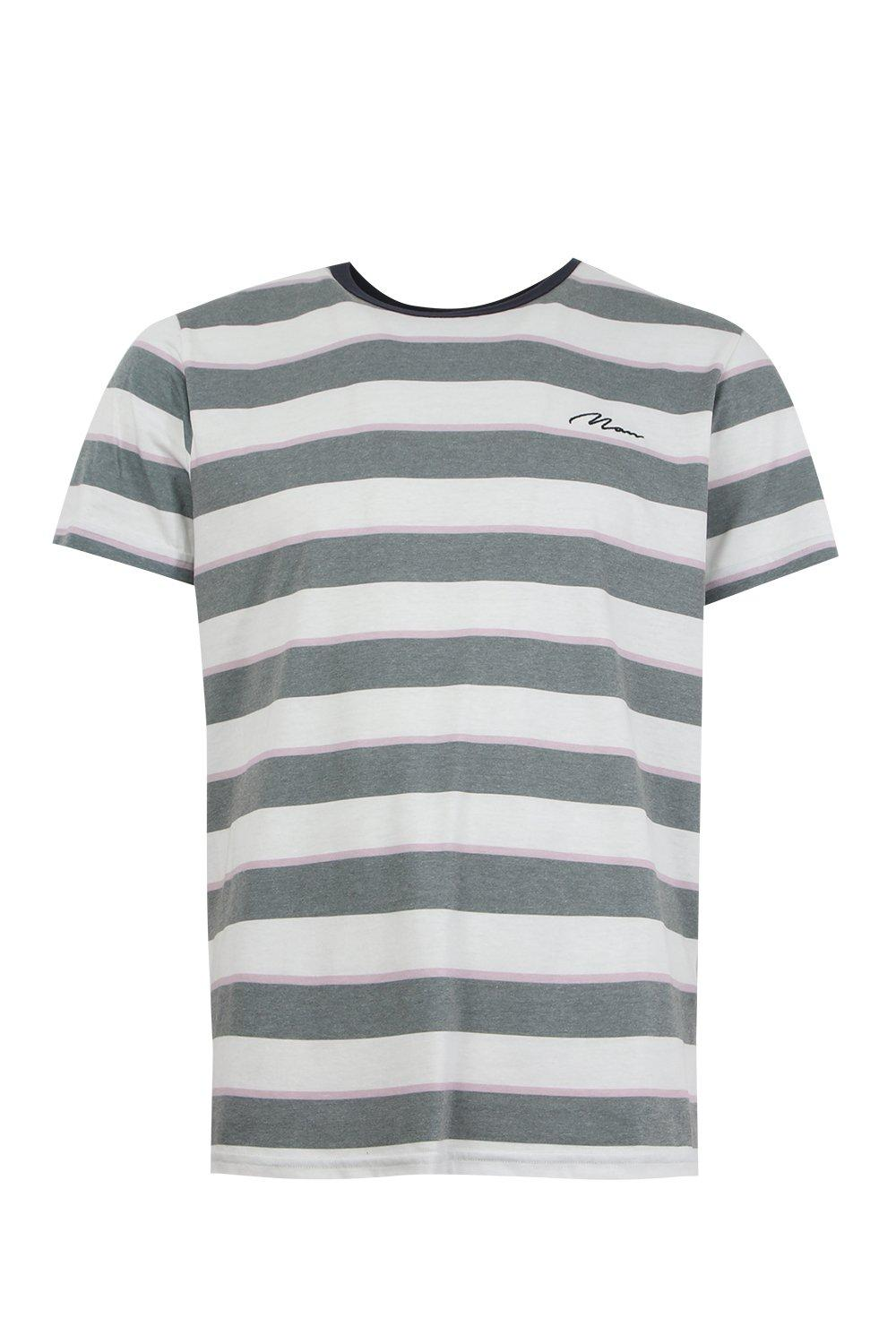 boohooMAN white Loose Embroidered Stripe T-Shirt