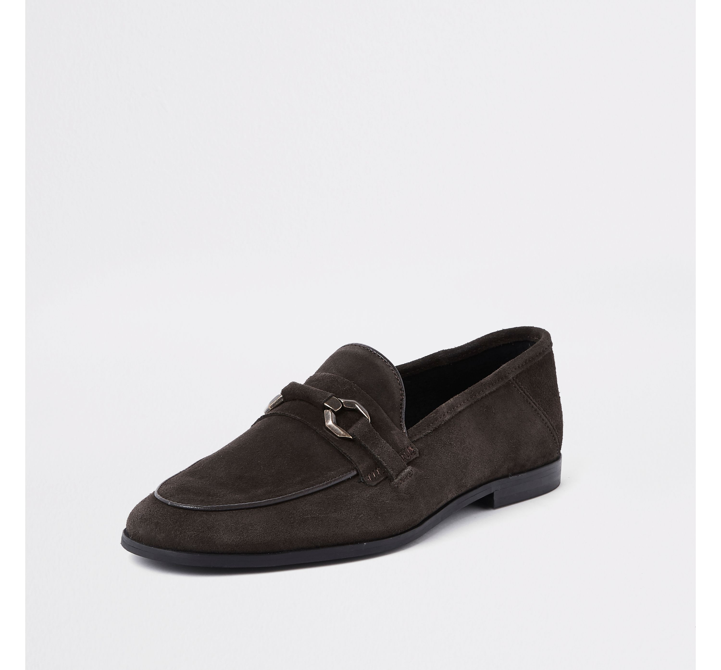 River Island Mens Dark Brown suede covered snaffle loafers