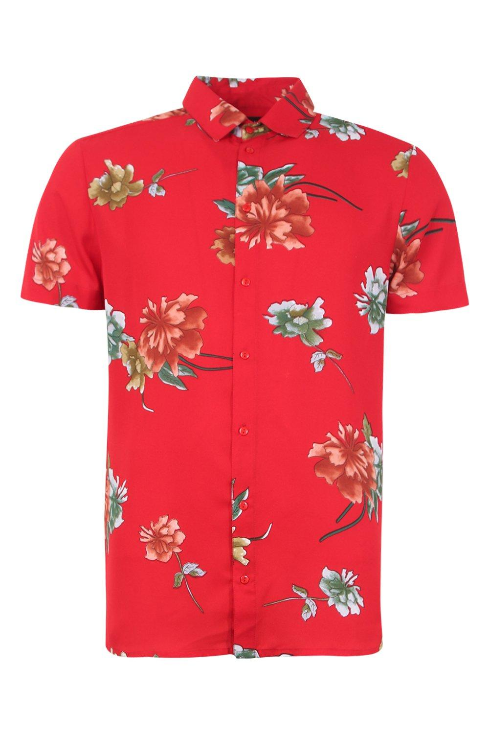 boohooMAN Red Floral Print Short Sleeve Shirt