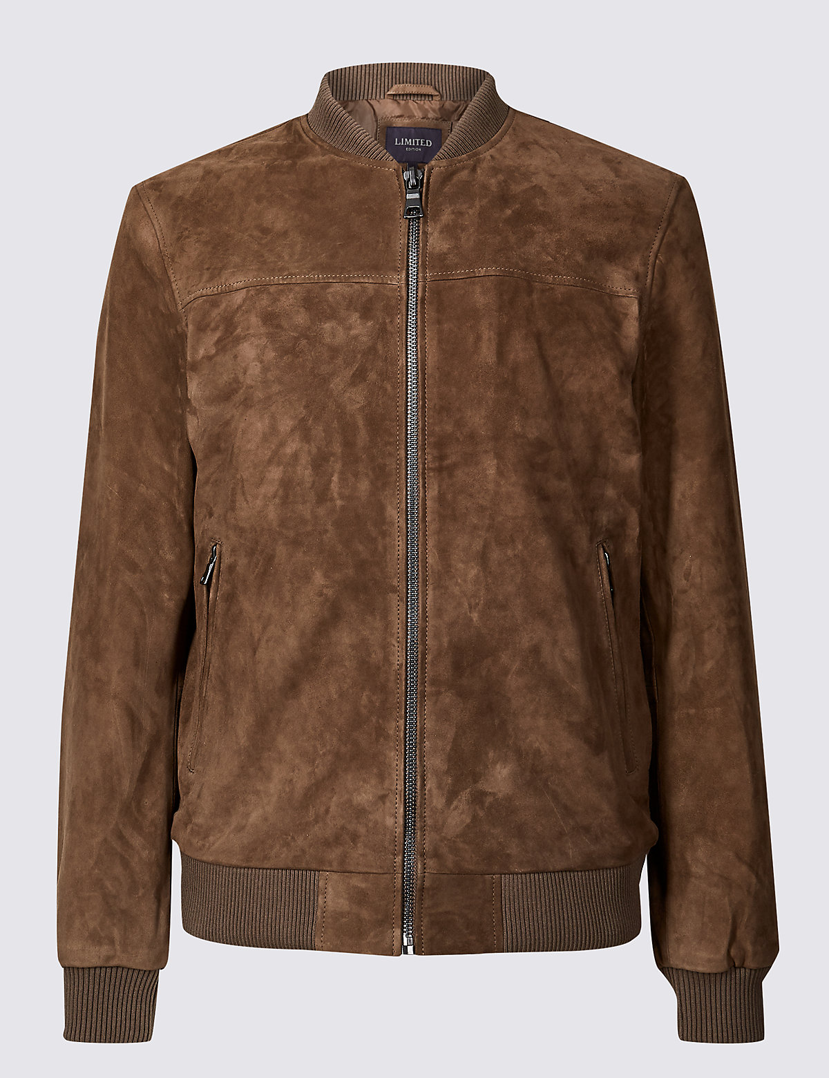 Marks & Spencer Dark Taupe Suede Baseball Jacket