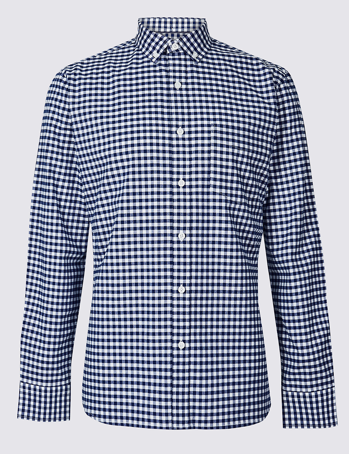 Marks & Spencer Navy Pure Cotton Slim Fit Checked Oxford Shirt