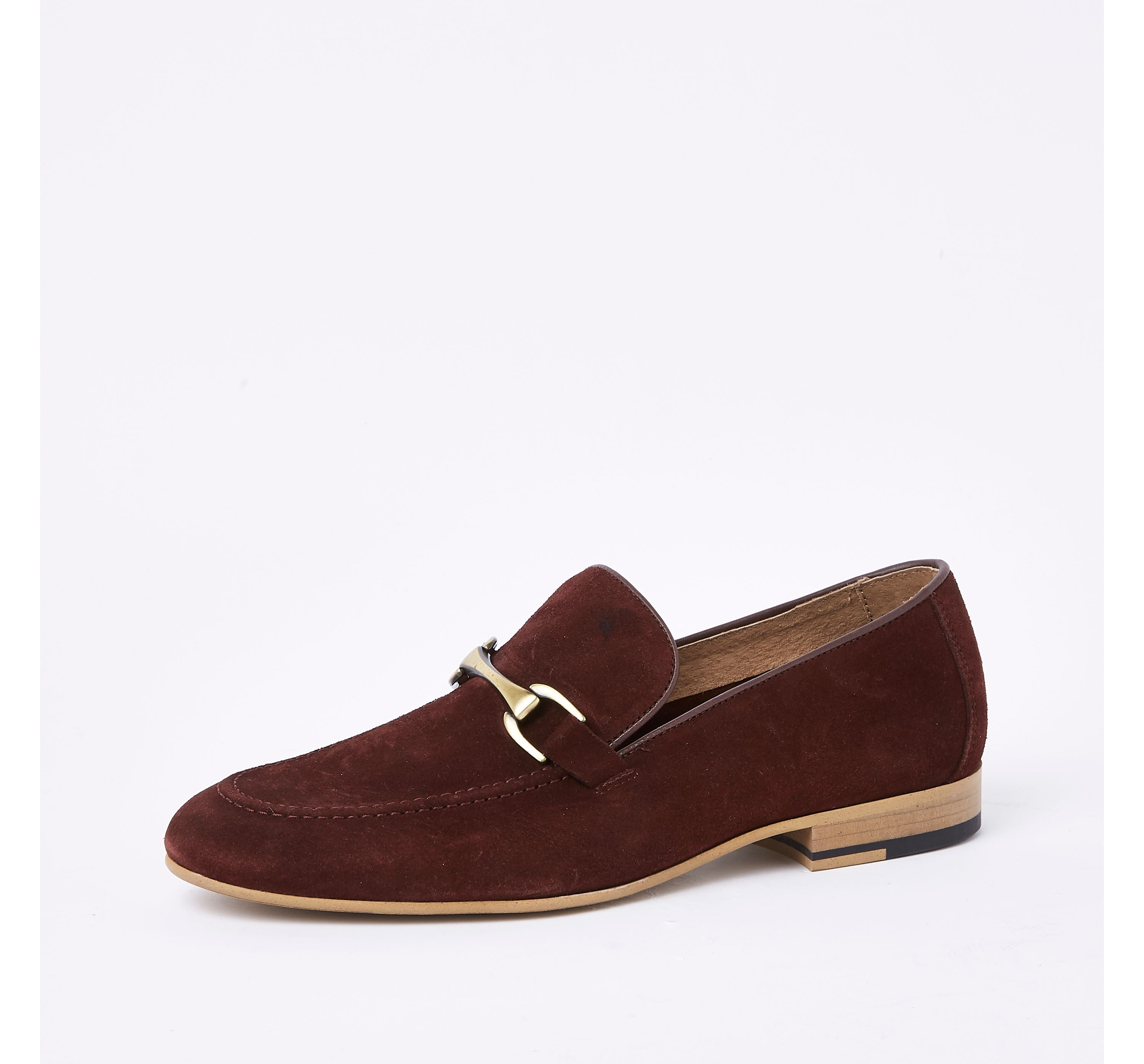 River Island Mens Dark Red suede snaffle loafers