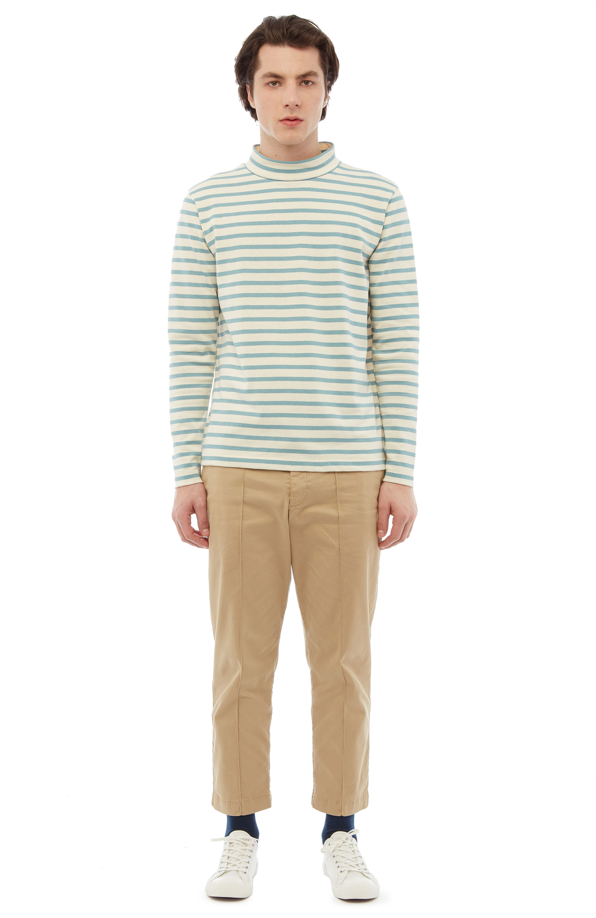 YMC Chino Turtleneck (ecru/blue)