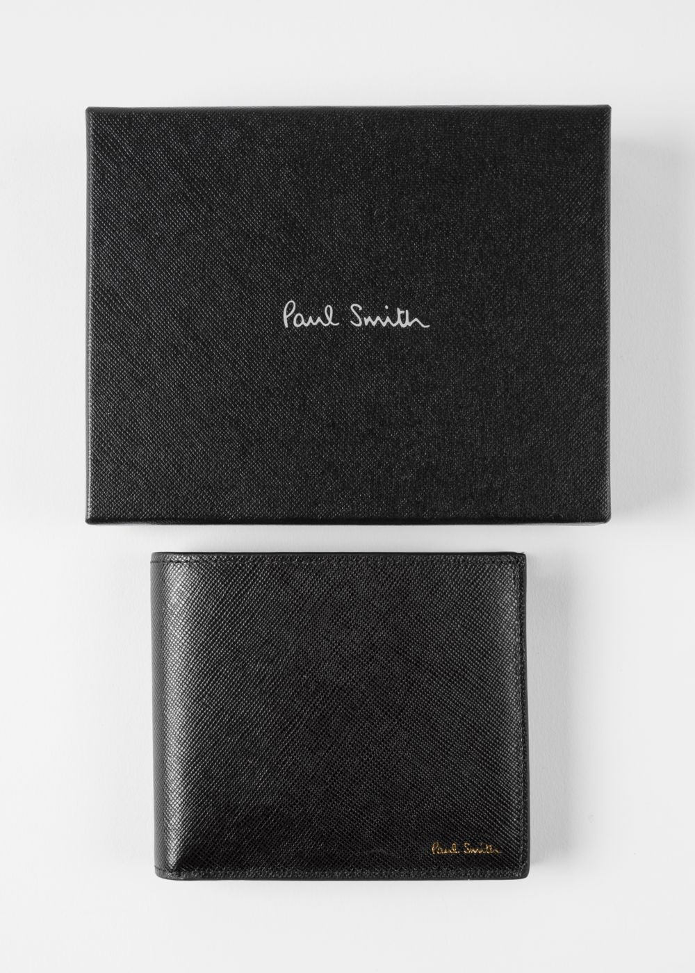 Men's Black Leather 'Geometric Mini' Print Interior Billfold And Coin Wallet by Paul Smith