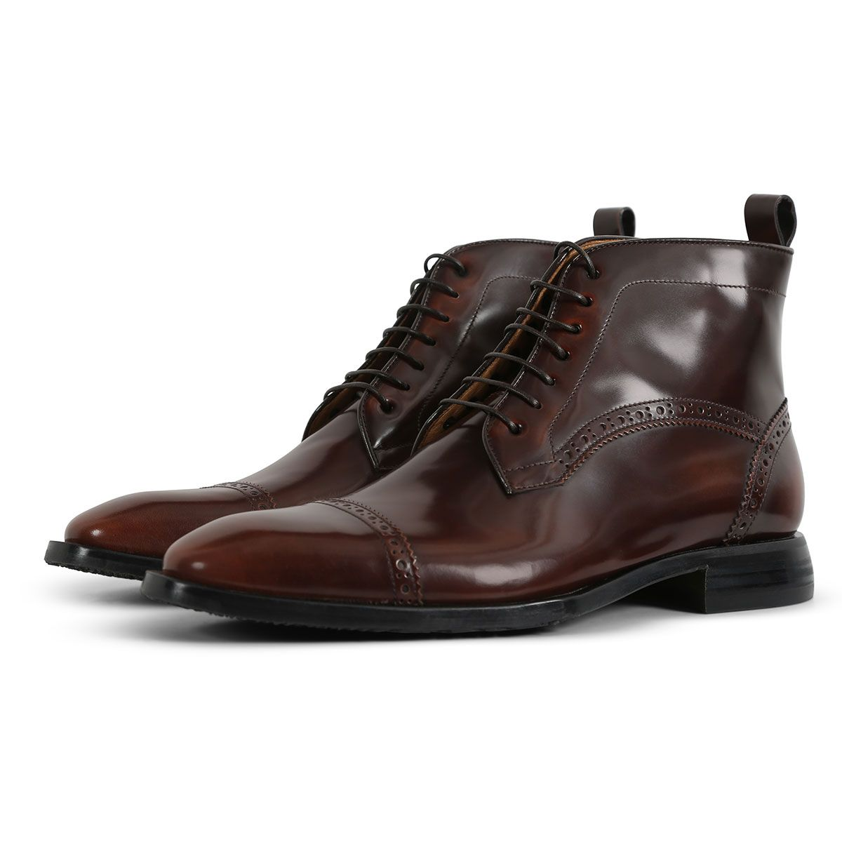 Oliver Sweeney Gradella Dark Brown - Antiqued High-Shine Leather Boot