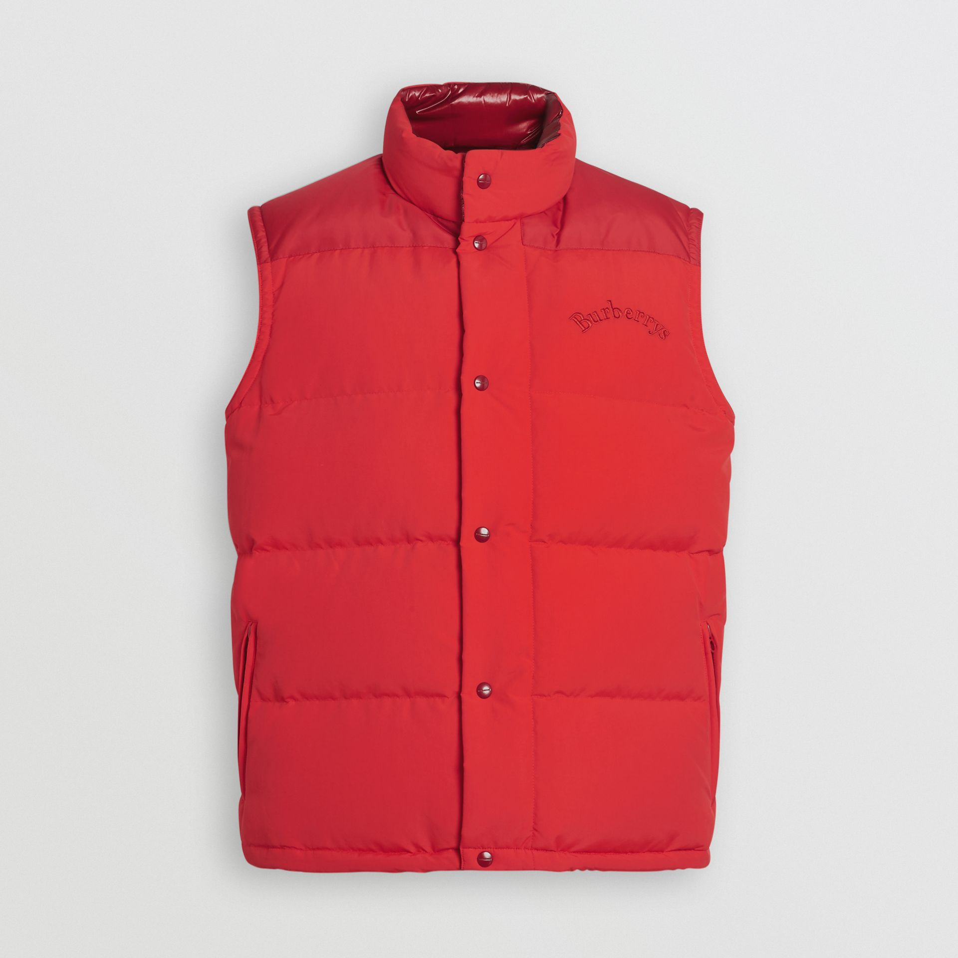 Burberry Bright Red Embroidered Archive Logo Down-filled Gilet
