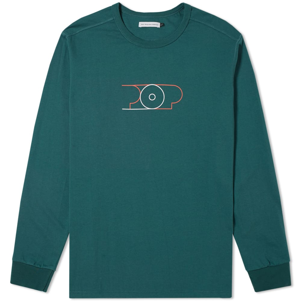 Pop Trading Company Sports Green Long Sleeve Lines Logo Tee
