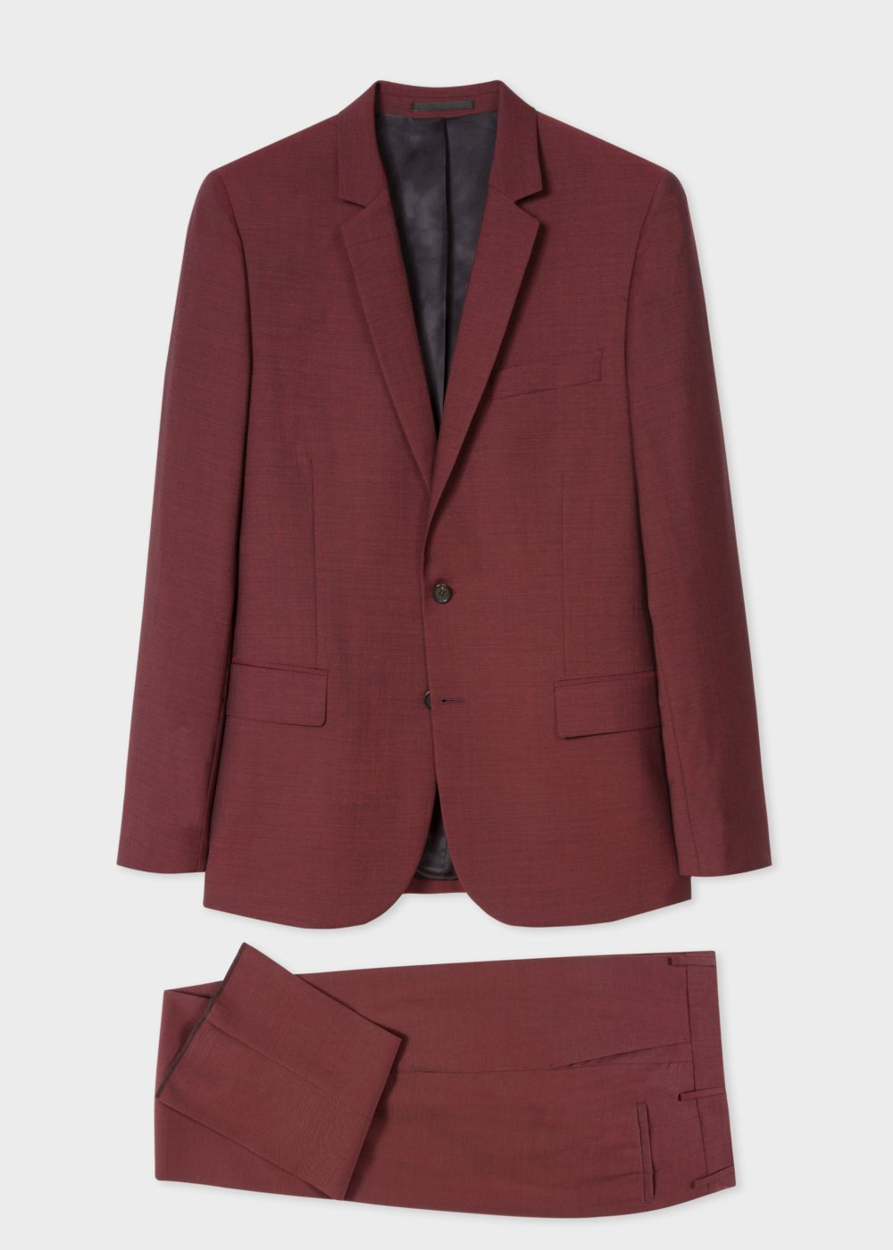 Men S Mid Fit Dark Red Wool Mohair Suit By Paul Smith Thread Com