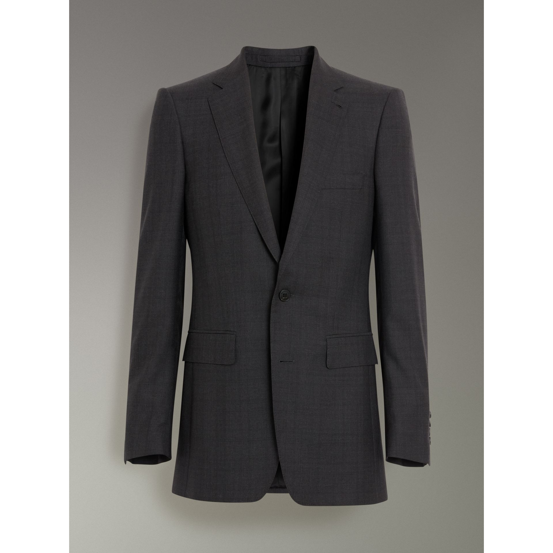Burberry Charcoal Melange Slim Fit Prince of Wales Check Wool Silk Suit