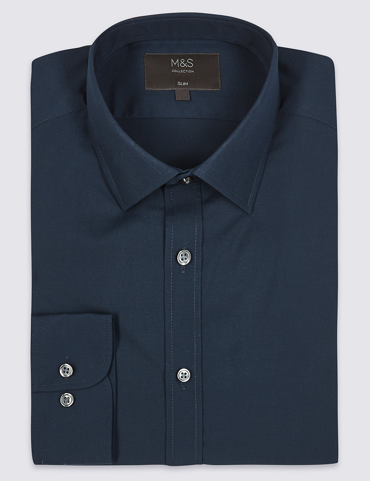 Marks & Spencer Navy Cotton Blend Slim Fit Shirt