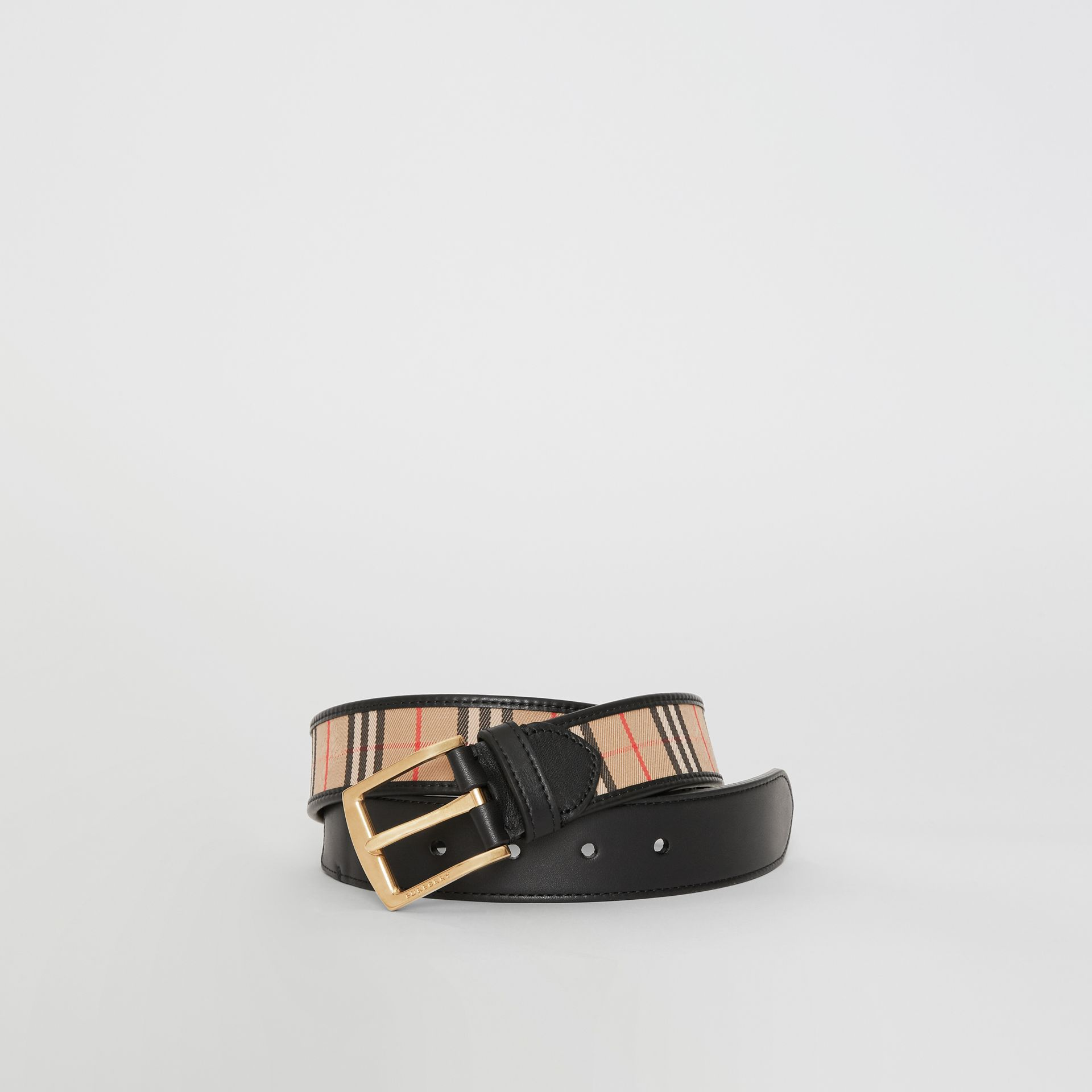 Burberry Black 1983 Check and Leather Belt
