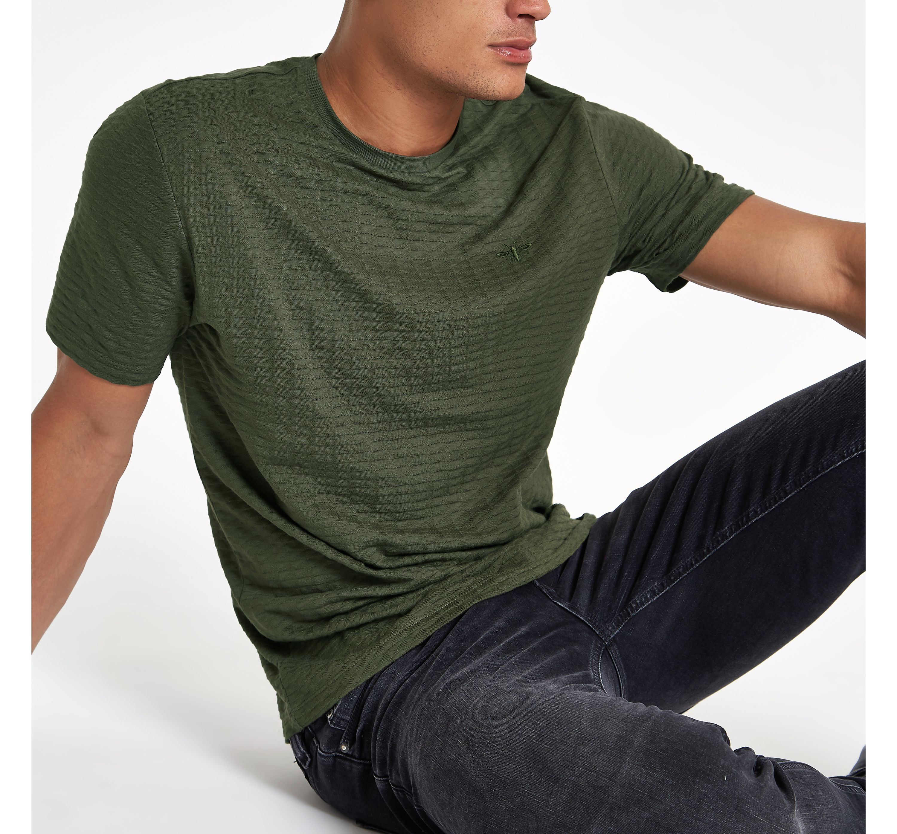 River Island Mens Khaki waffle slim fit short sleeve T-shirt