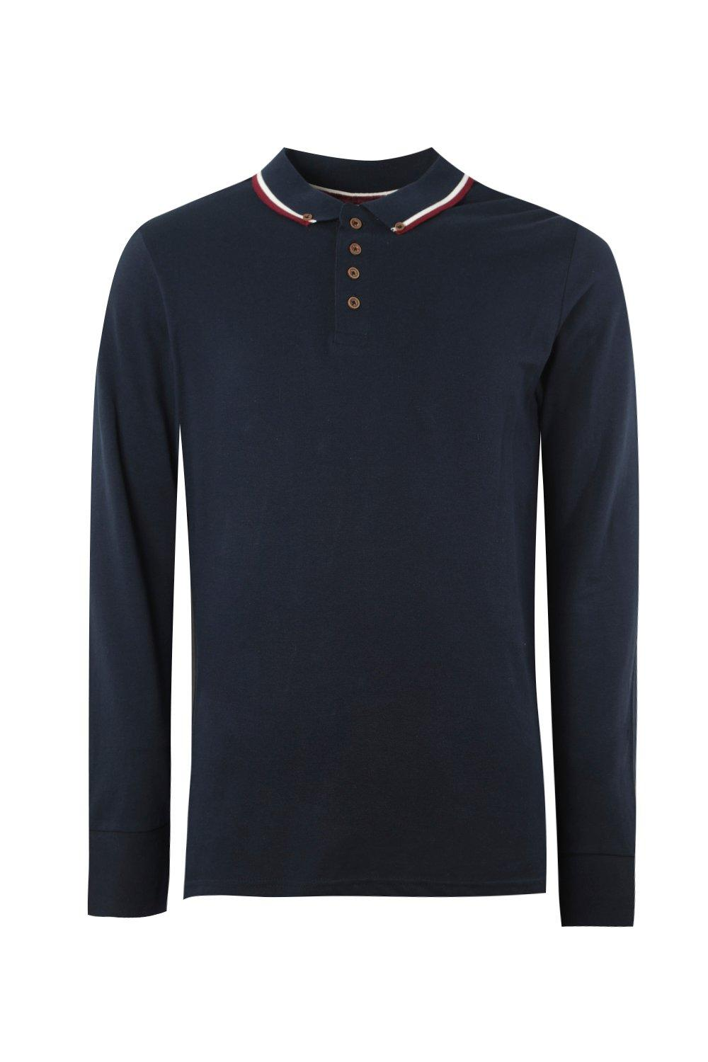 boohooMAN navy Long Sleeve Pique Polo With Tipping