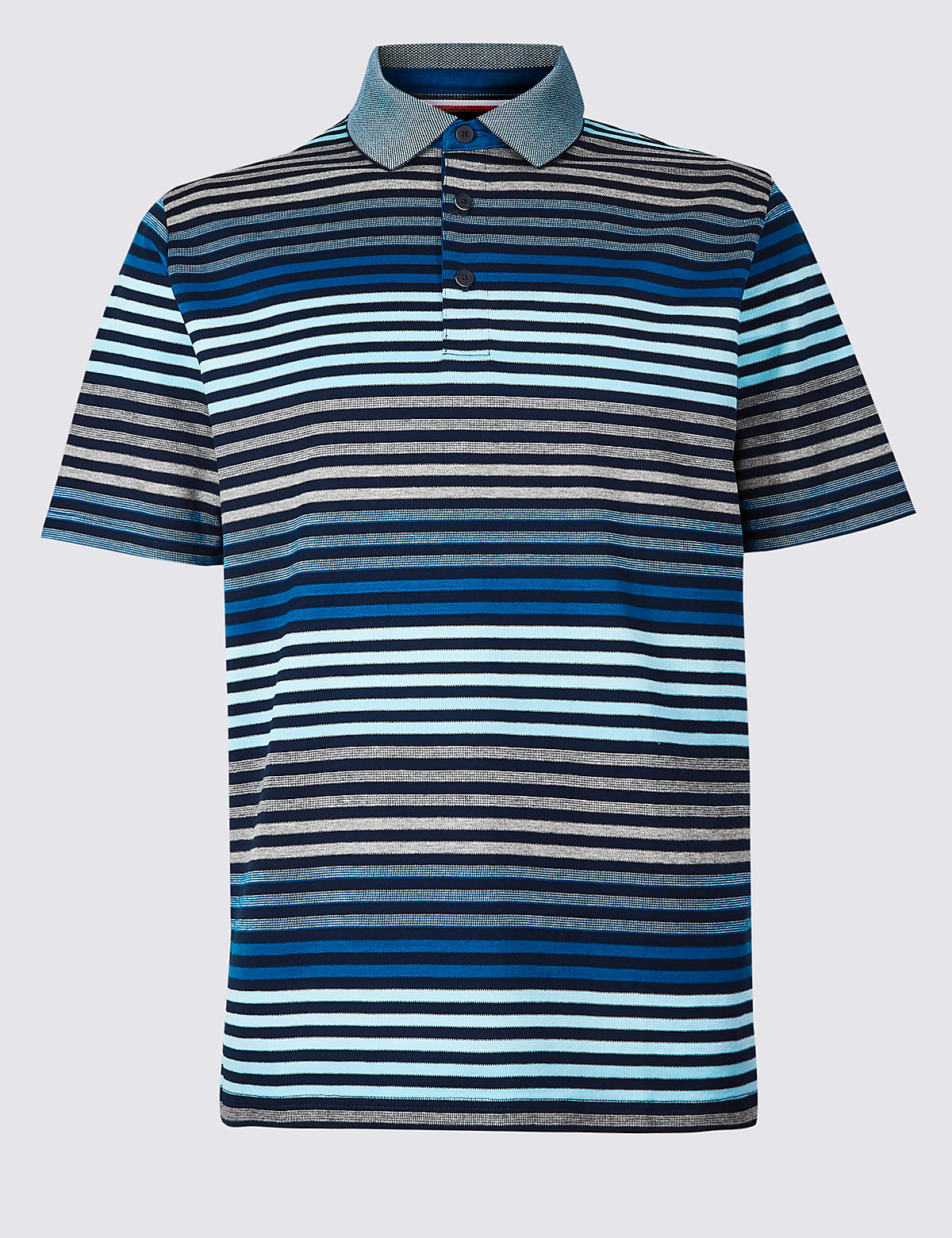 Marks & Spencer Navy Mix Pure Cotton Striped Polo Shirt