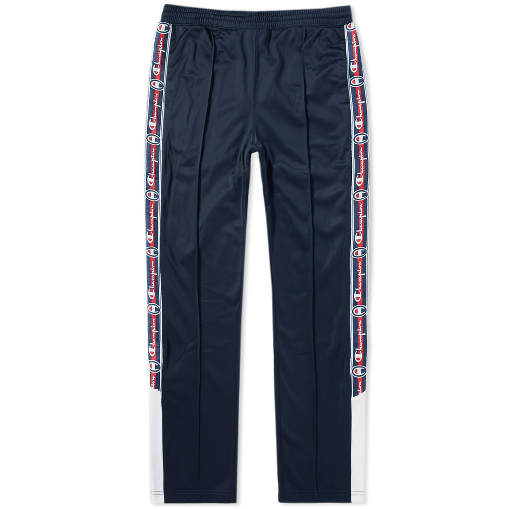 Champion Reverse Weave Navy Popper Taped Track Pant