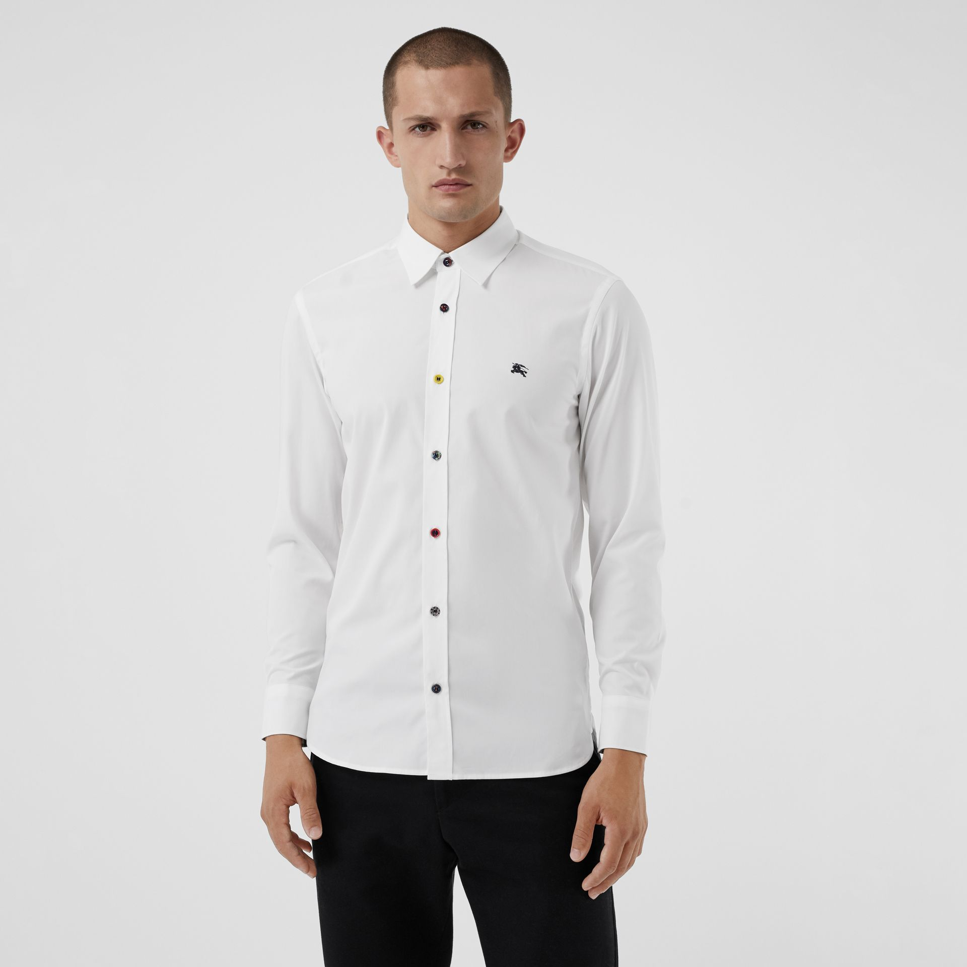 Burberry White Contrast Button Stretch Cotton Shirt