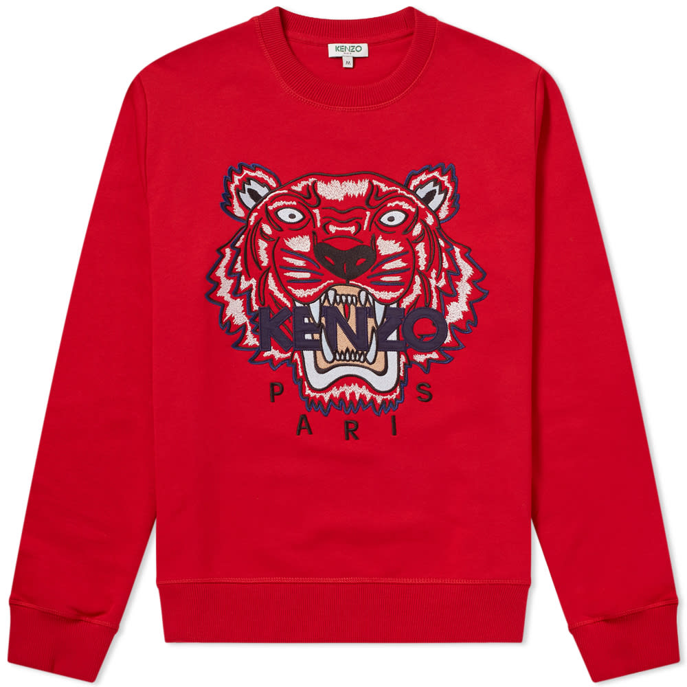 Kenzo Red & Multi Tiger Embroidered Sweat