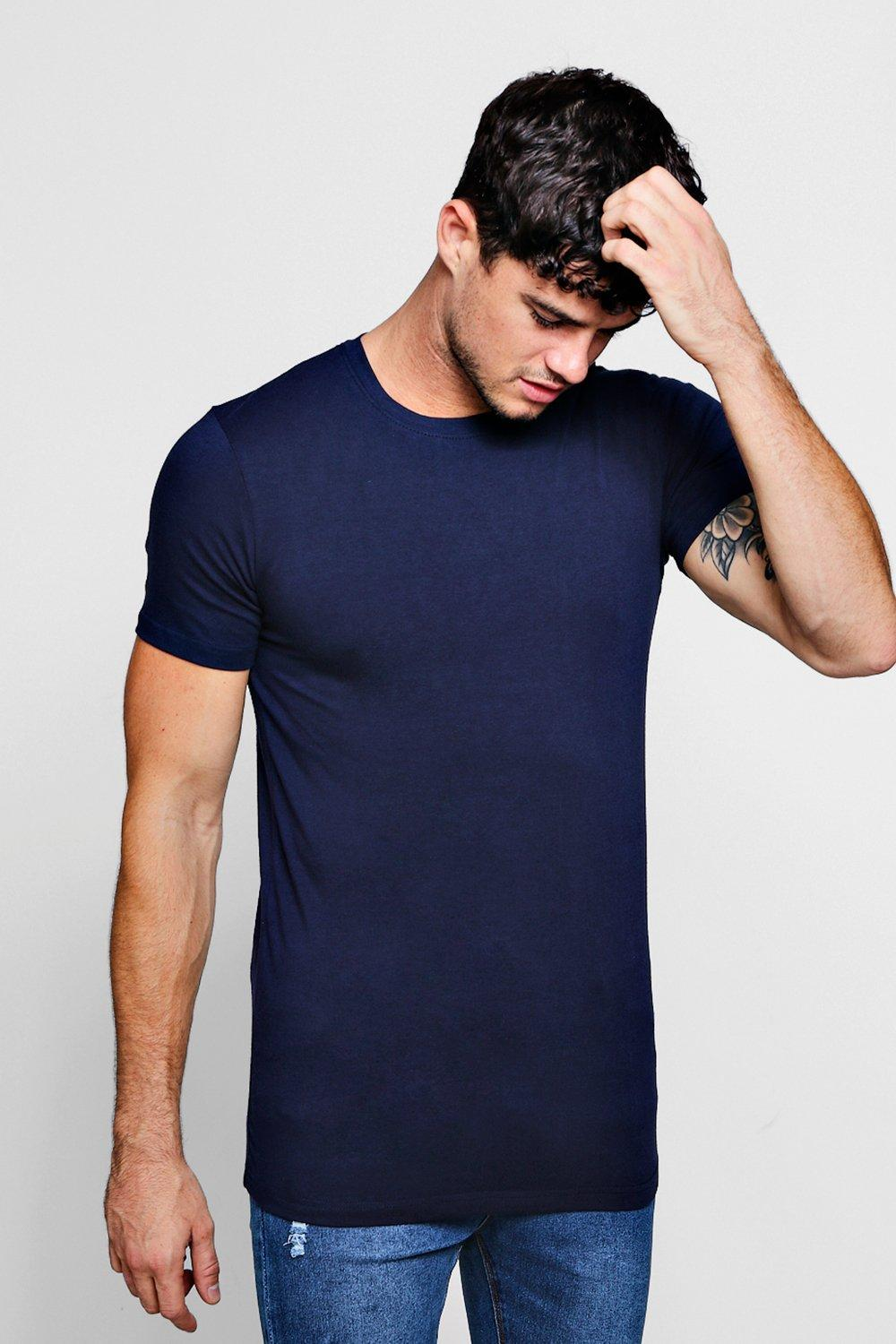 boohooMAN navy Muscle Fit Crew Neck T Shirt
