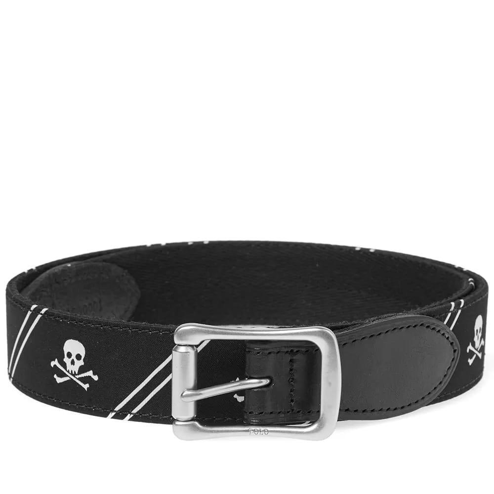 Polo Ralph Lauren Black & White Skull Motif Icon Belt