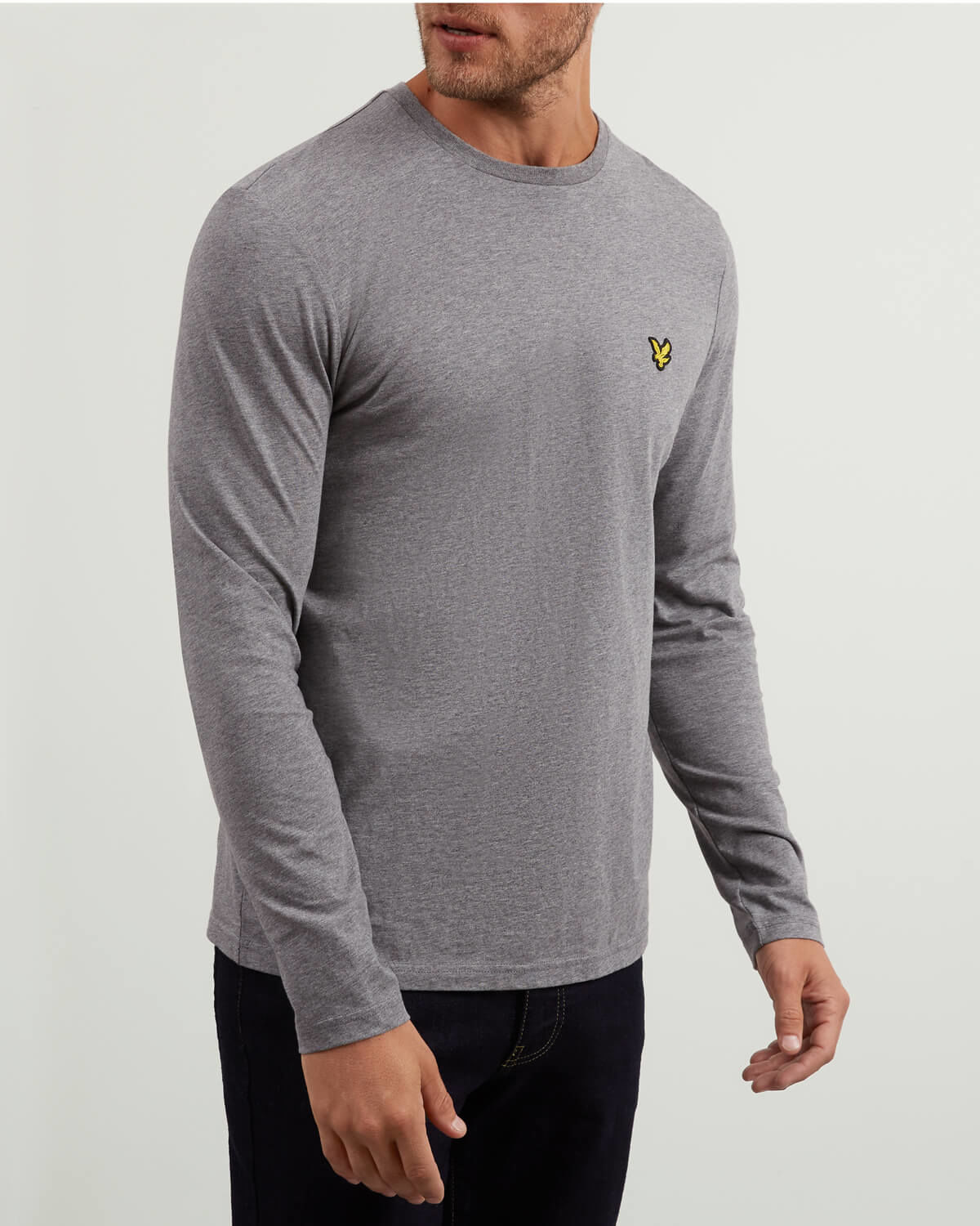 Lyle and Scott Mid Grey Marl Long Sleeve Crew Neck T-Shirt