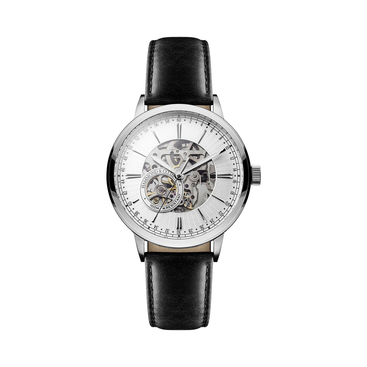 Hammond & Co. by Patrick Grant Mens' mechanical watch with black leather strap