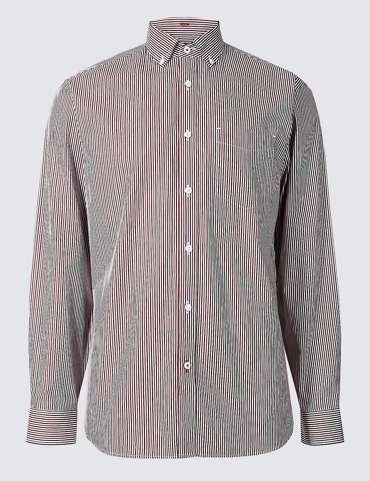 Marks & Spencer Red Pure Cotton Striped Shirt with Pocket
