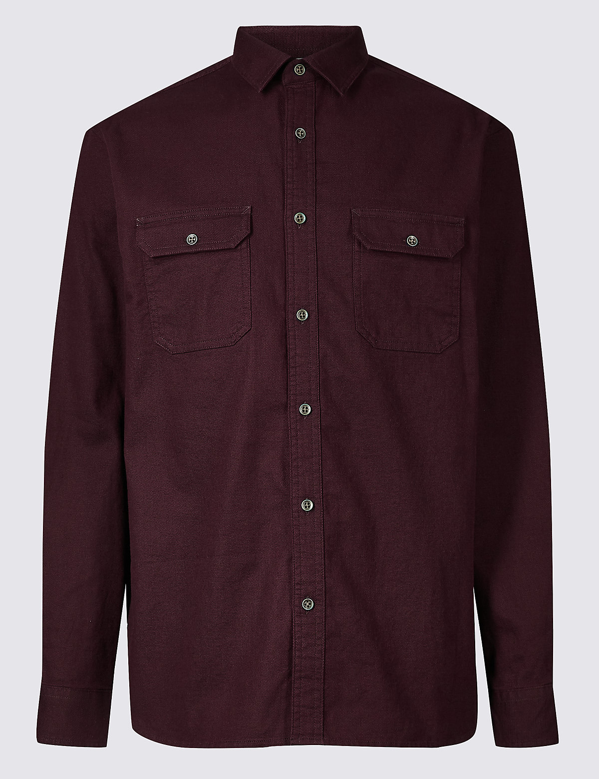 Marks & Spencer Dark Aubergine Pure Cotton Textured Shirt with Pockets