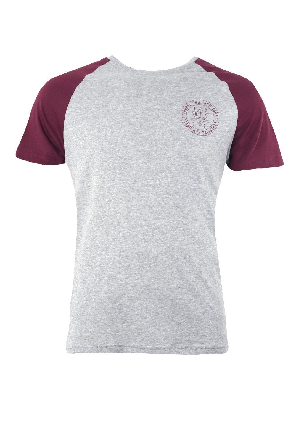 boohooMAN wine Chest Print Raglan T-Shirt