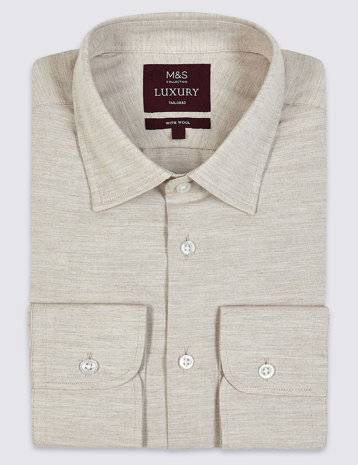 Marks & Spencer Neutral Cotton Rich Tailored Fit Oxford Shirt