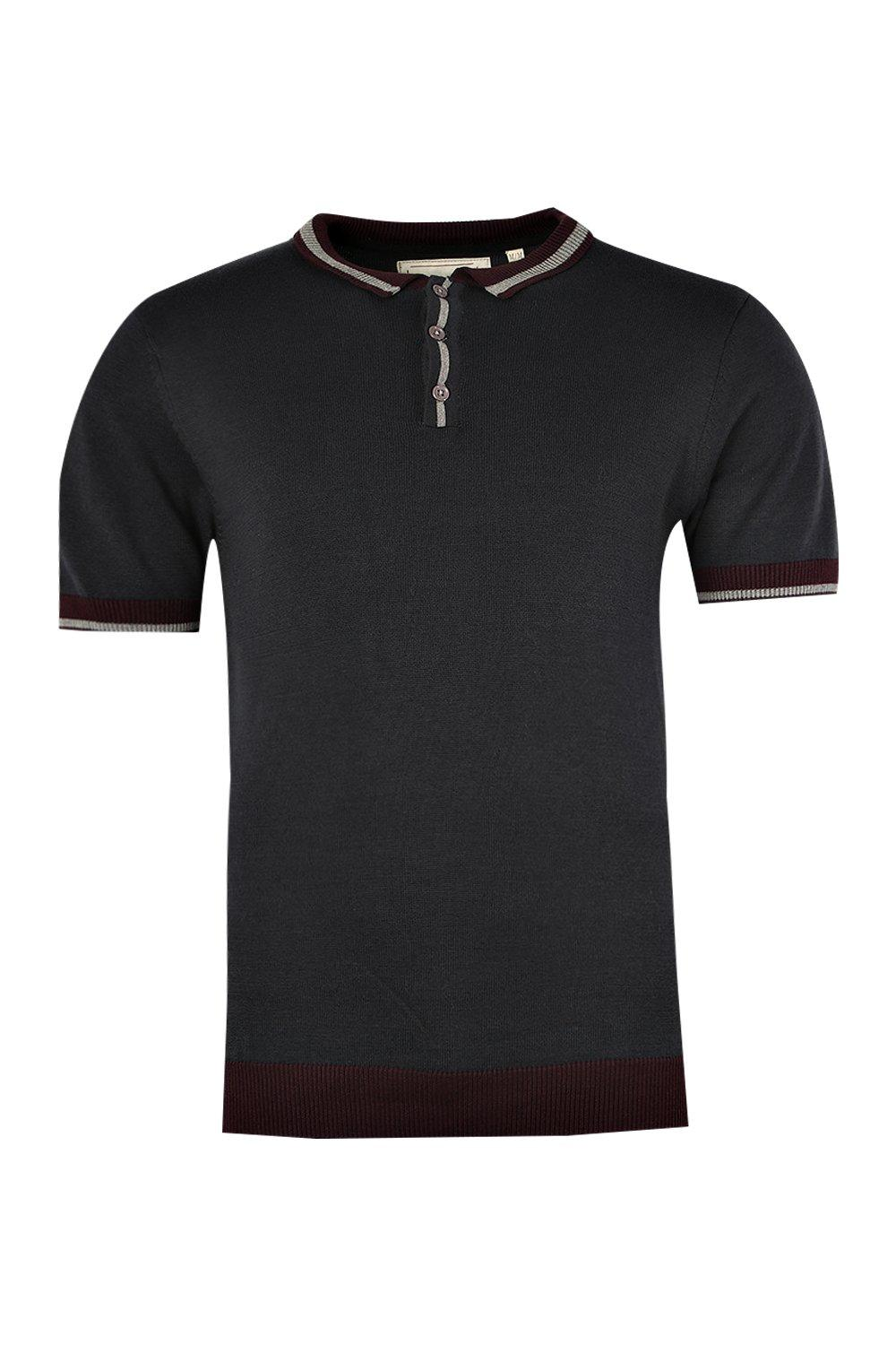 boohooMAN navy Short Sleeve Knitted Polo with Tipping