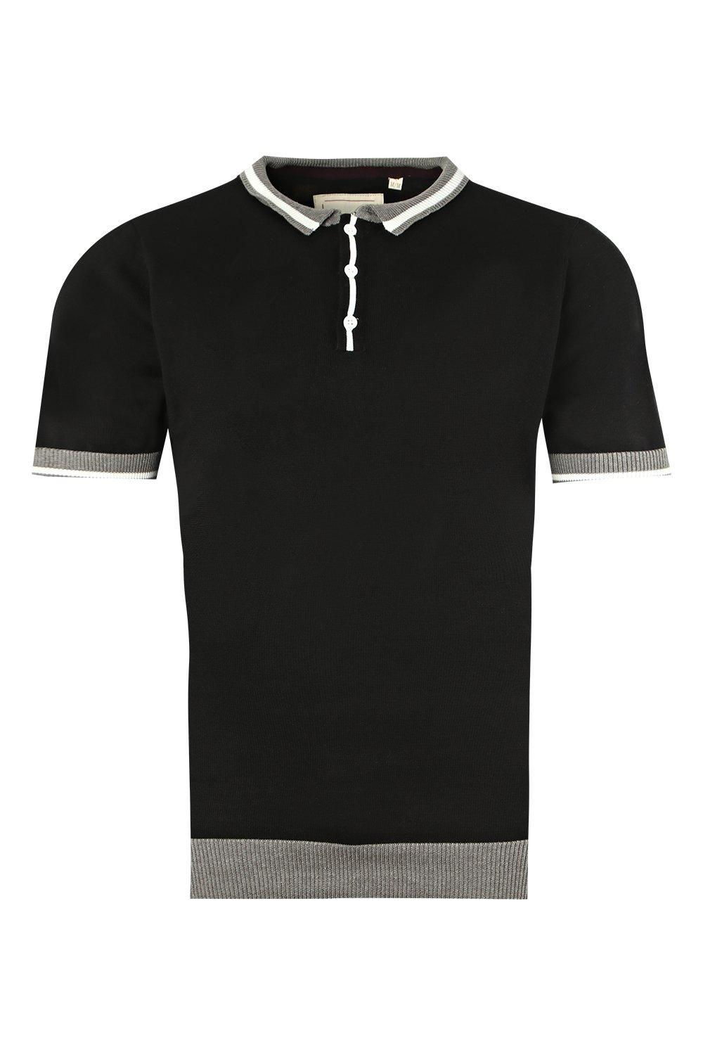 boohooMAN black Short Sleeve Knitted Polo with Tipping