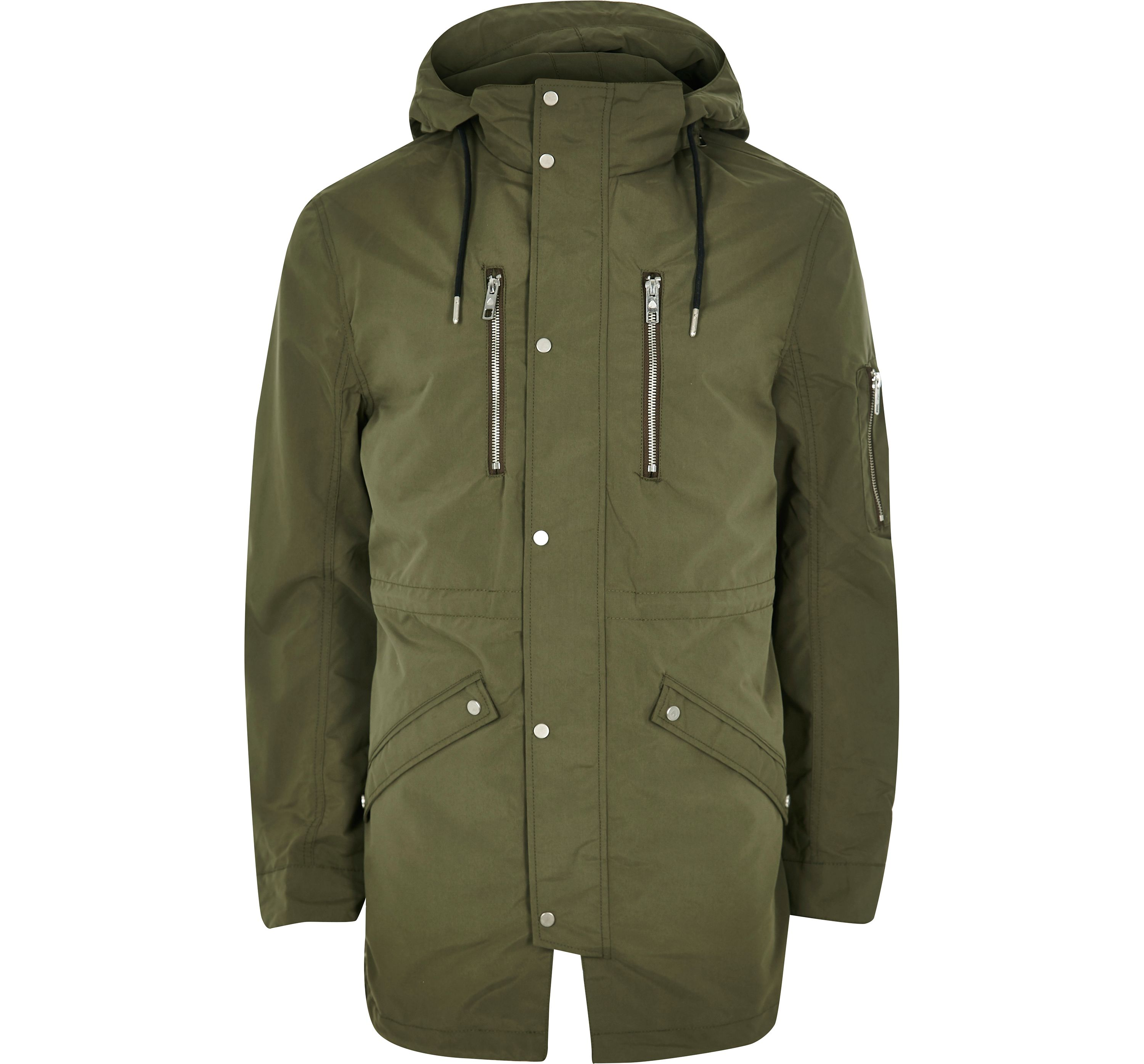 River Island Mens Only and Sons Khaki hooded parka jacket