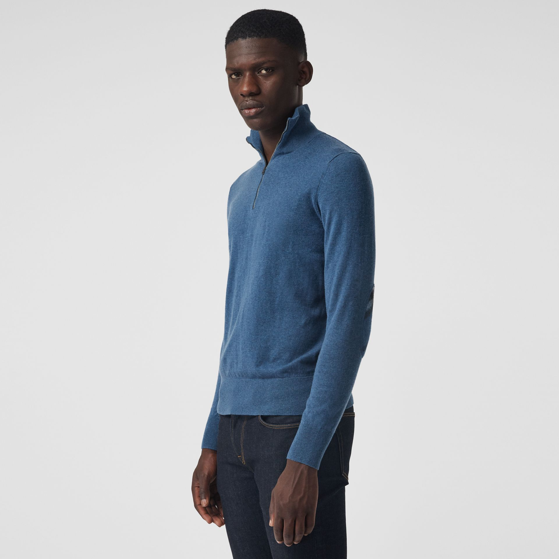 Burberry Steel Blue Zip-neck Cashmere Cotton Sweater