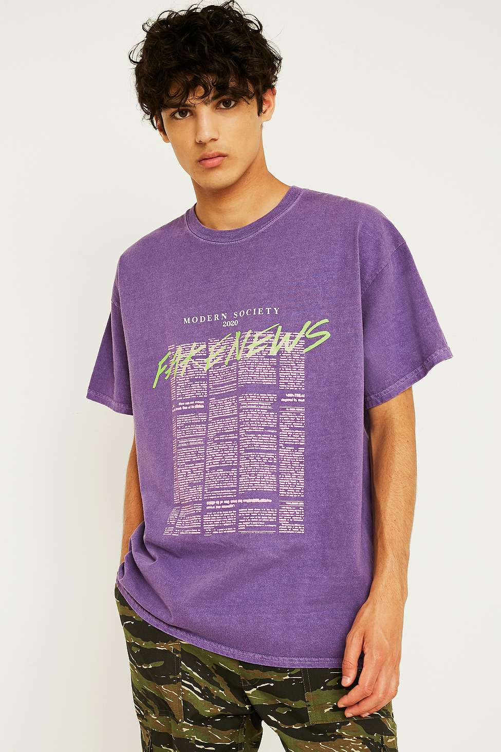 Urban Outfitters UO Fake News Purple T-Shirt