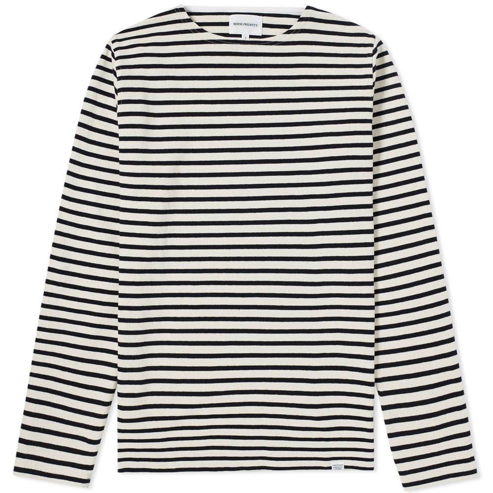 Norse Projects Ecru Stripe Long Sleeve Godtfred Classic Compact Tee